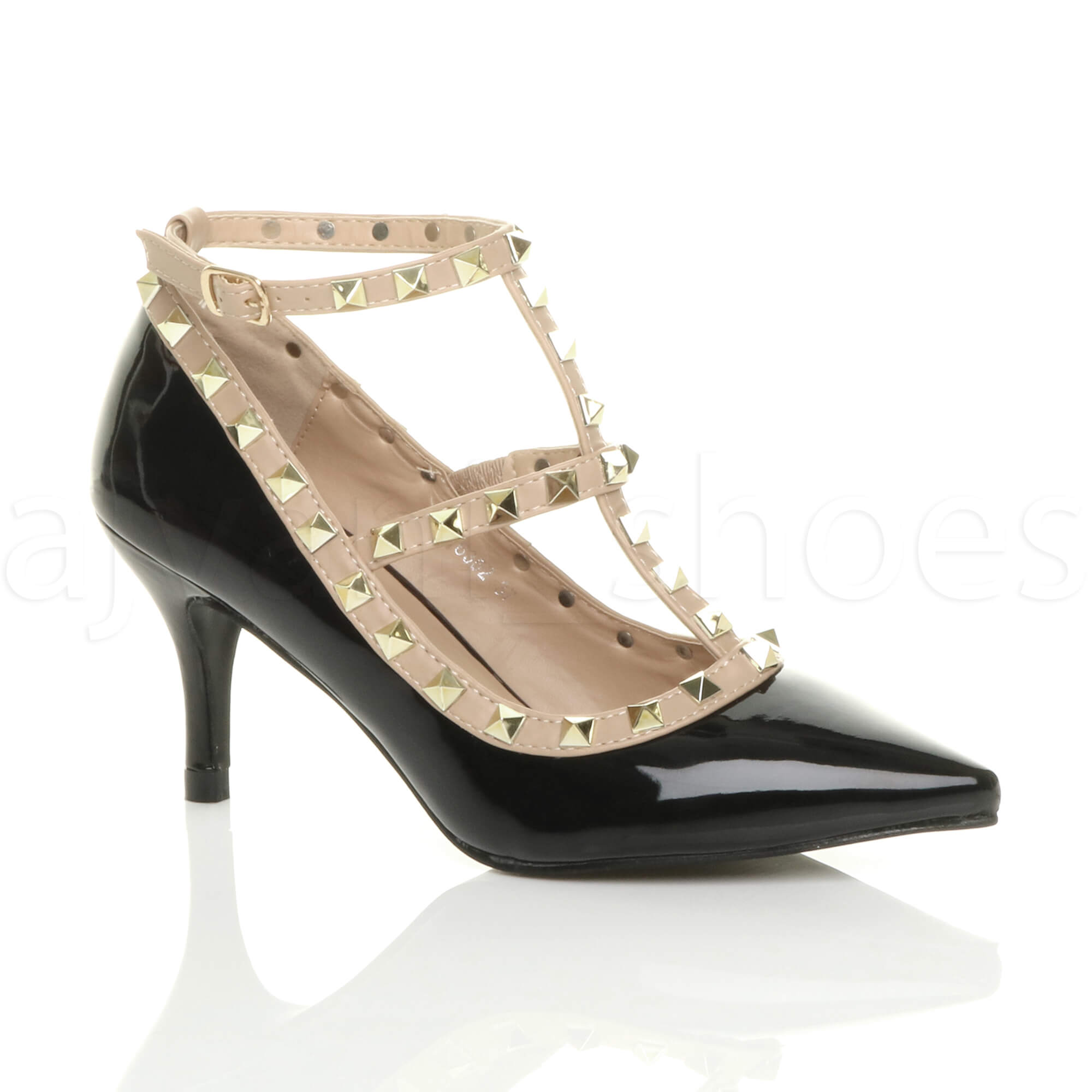 f059505d07ec Details about WOMENS LADIES MID HIGH HEEL T-BAR PUNK ROCK STUDDED POINTED  COURT SHOES SIZE