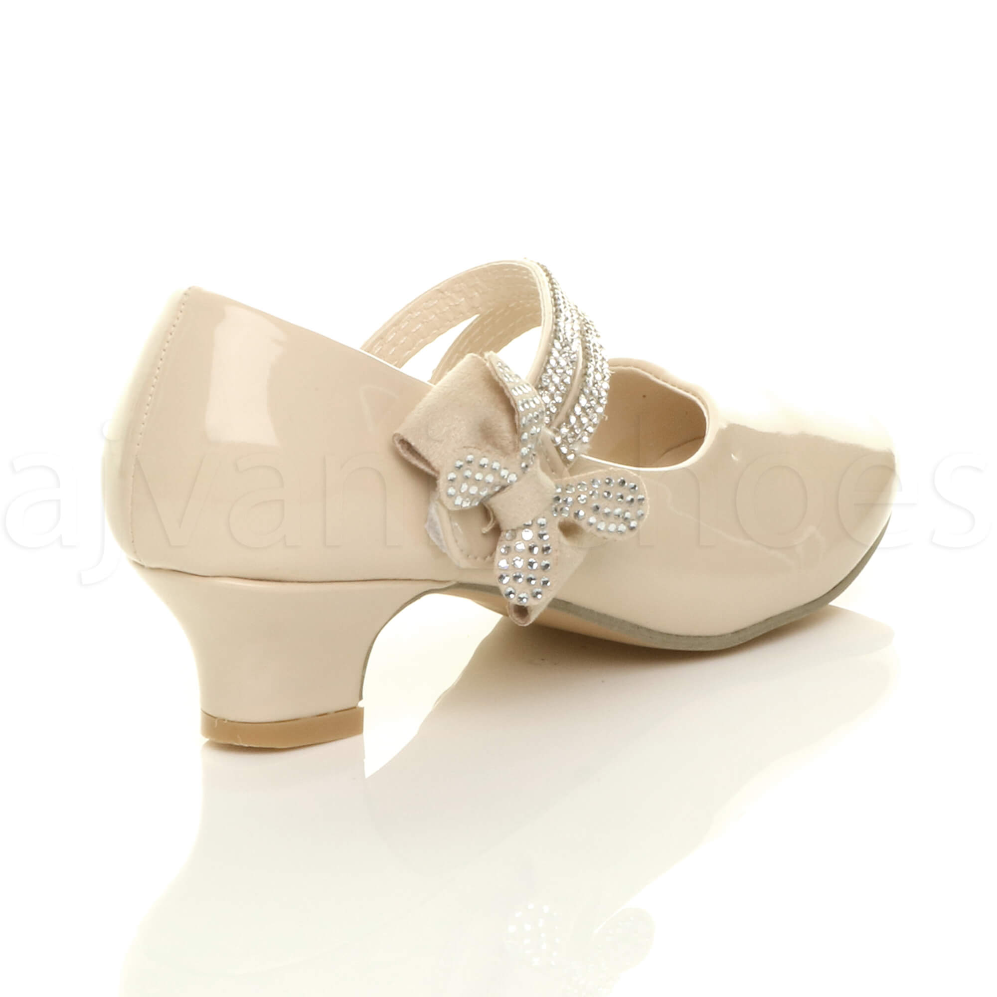 4050689a2425 GIRLS KIDS CHILDRENS LOW HEEL STRAP BOW BRIDESMAID PARTY FORMAL ...