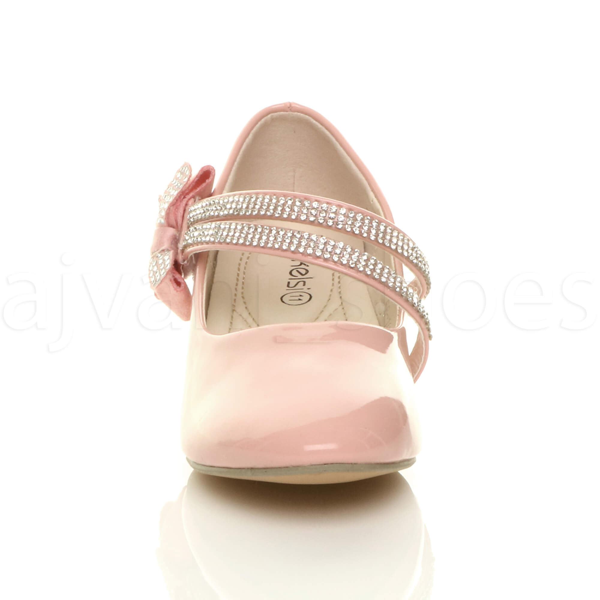 GIRLS-KIDS-CHILDRENS-LOW-HEEL-STRAP-BOW-BRIDESMAID-PARTY-FORMAL-SHOES-SIZE