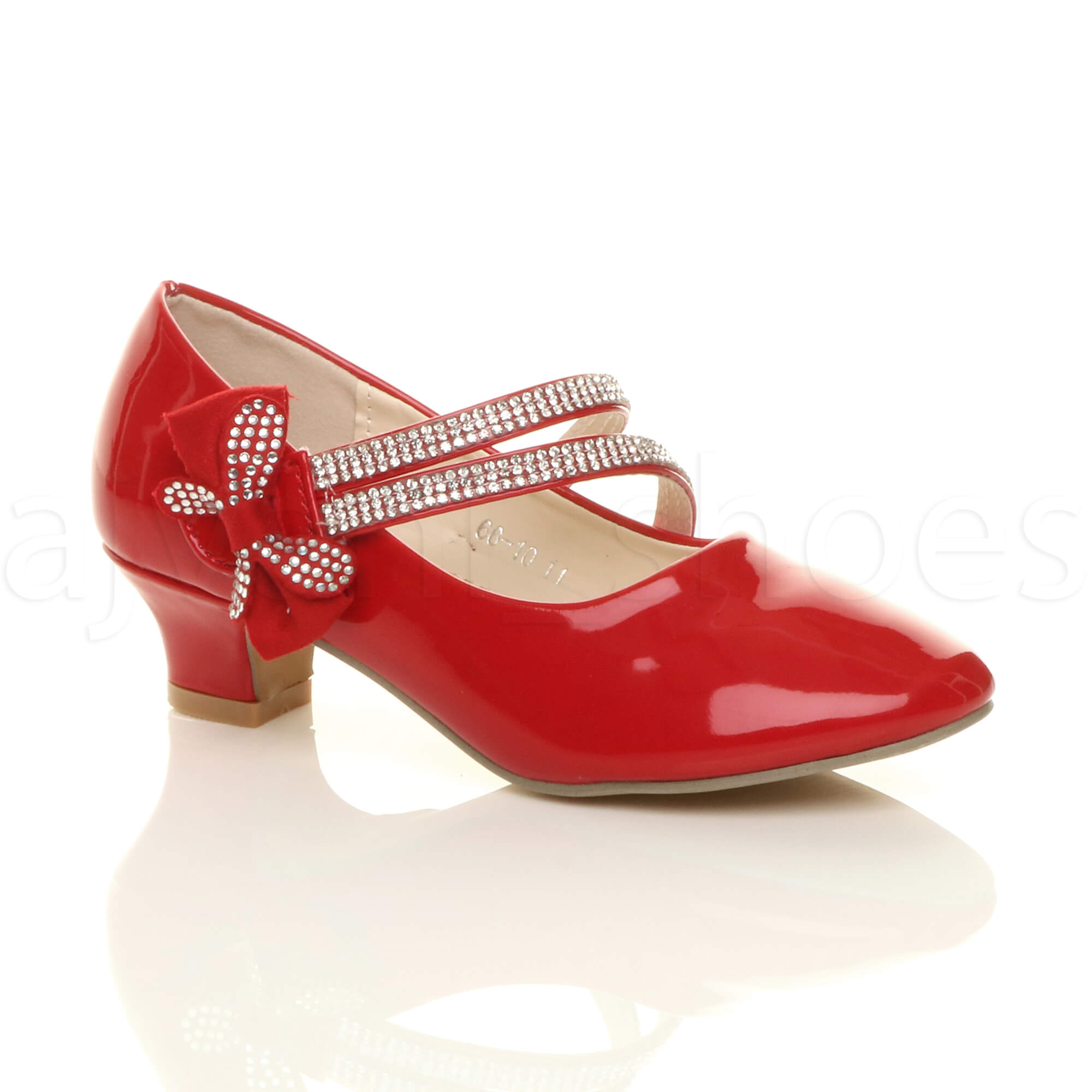 0487cf8e4b3 Details about GIRLS KIDS CHILDRENS LOW HEEL STRAP BOW BRIDESMAID PARTY  FORMAL SHOES SIZE