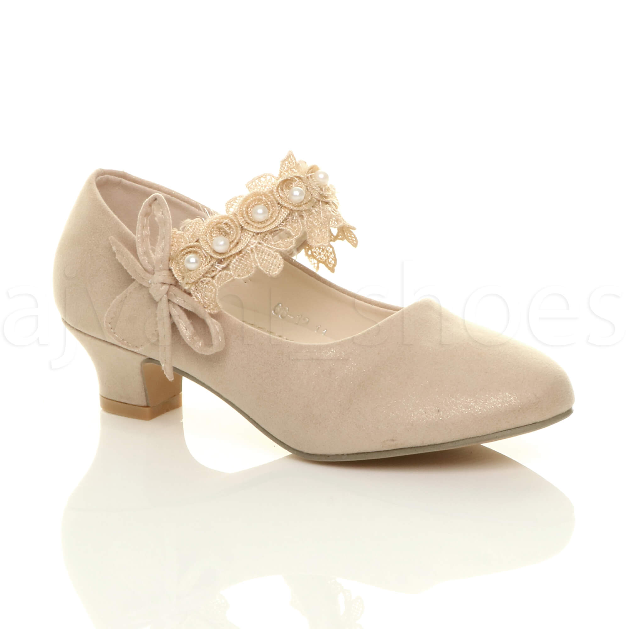 a9b1dddcff03bf Details about GIRLS KIDS CHILDRENS LOW HEEL LACE STRAP MARY JANE PARTY  FORMAL SHOES SIZE