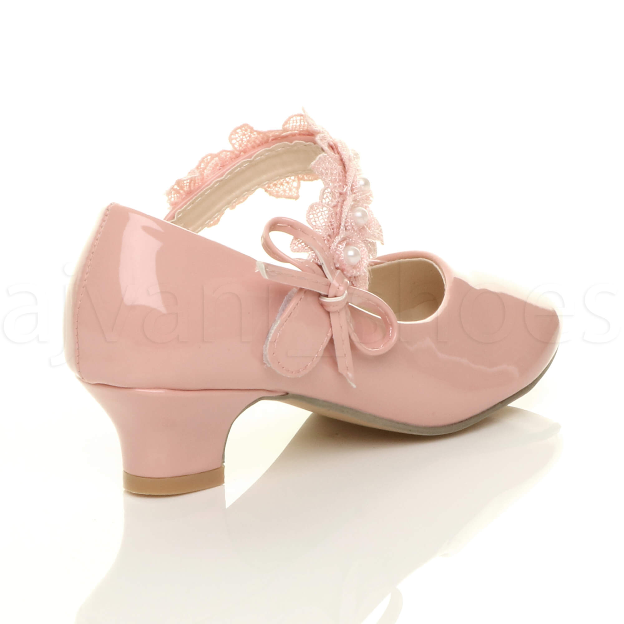 GIRLS-KIDS-CHILDRENS-LOW-HEEL-LACE-STRAP-MARY-JANE-PARTY-FORMAL-SHOES-SIZE