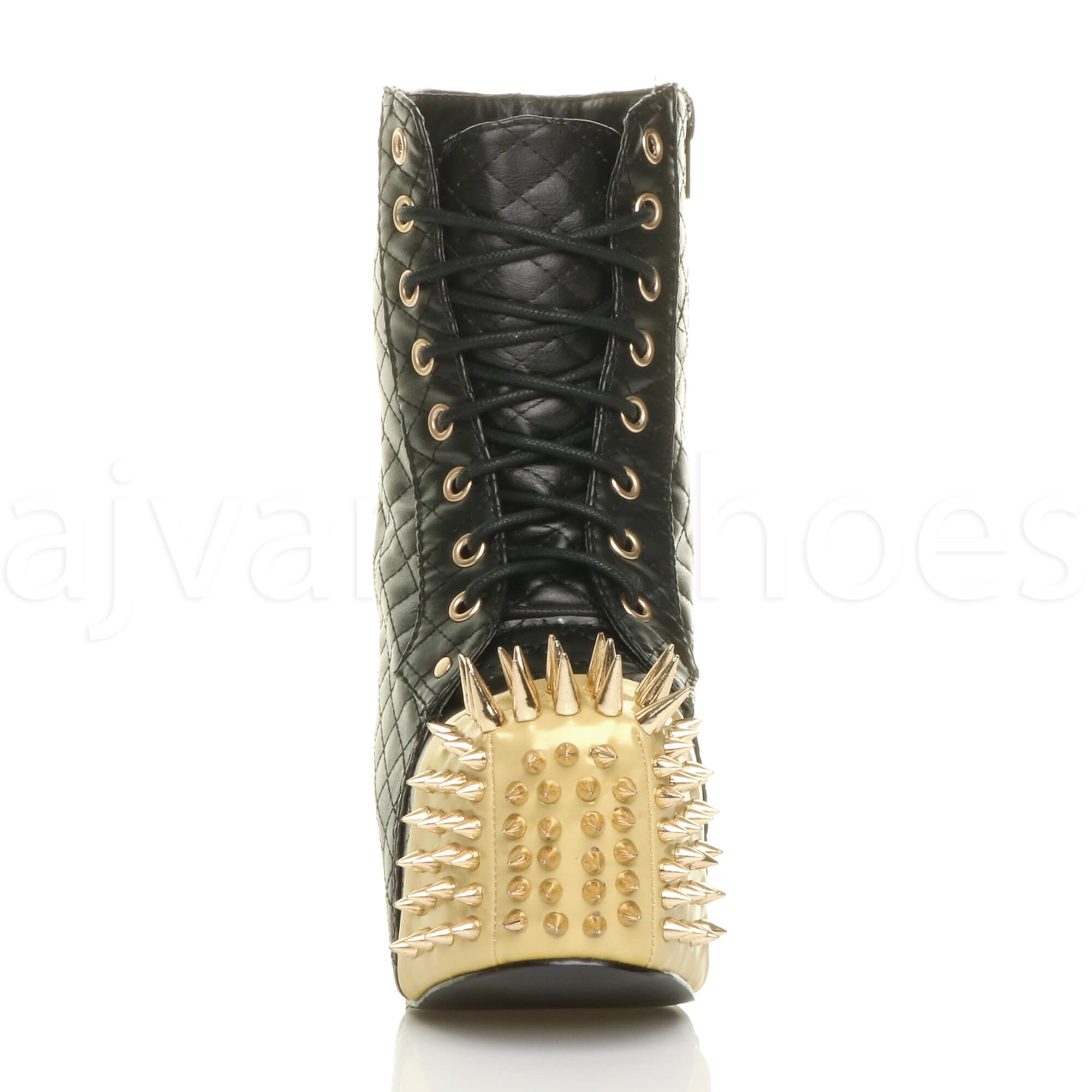 73d5c0fc4f4e WOMENS LADIES HIGH BLOCK HEEL GOTH PUNK SPIKED STUDDED PLATFORM ...