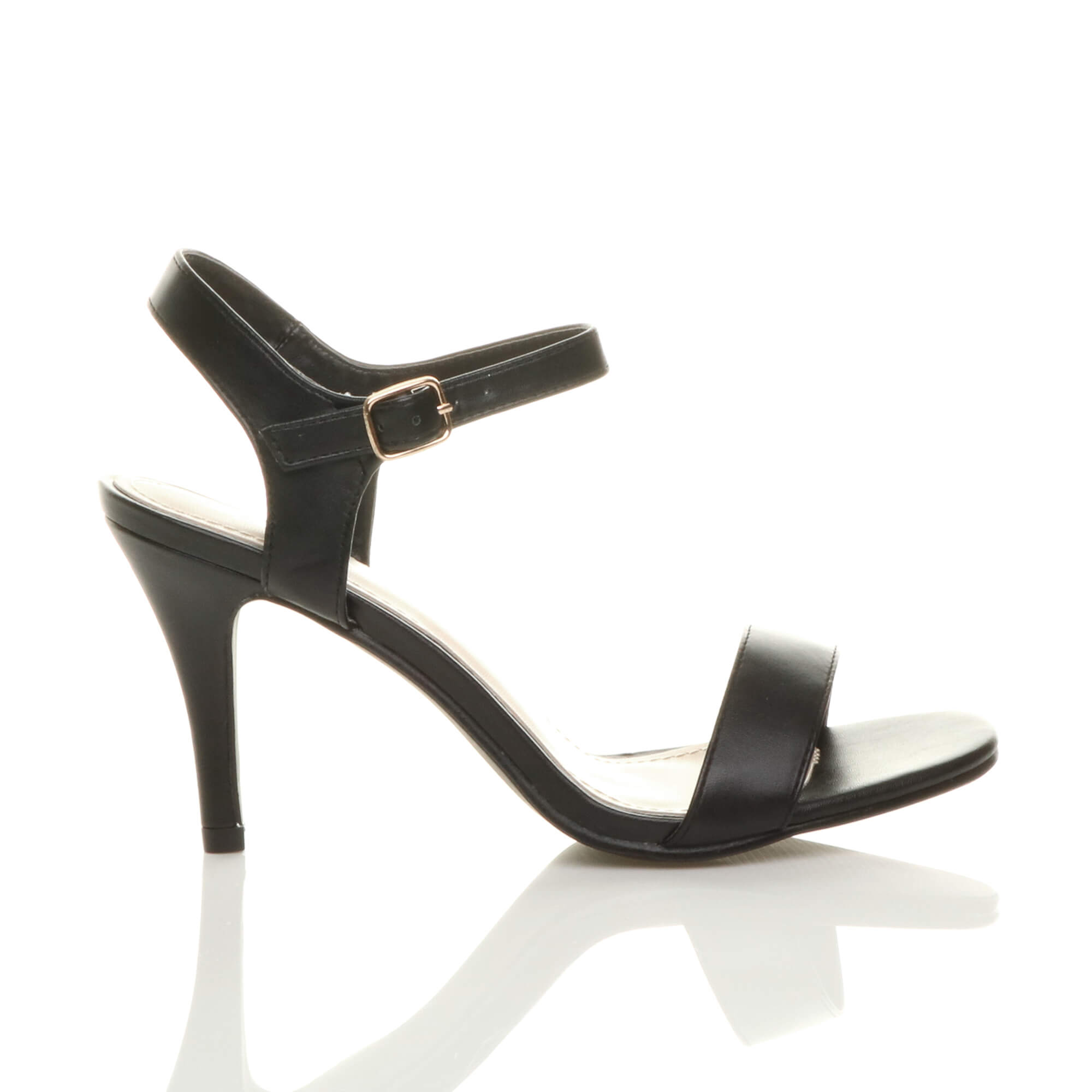 WOMENS-LADIES-HIGH-HEEL-BUCKLE-STRAPPY-BASIC-BARELY-THERE-SANDALS-SHOES-SIZE thumbnail 3