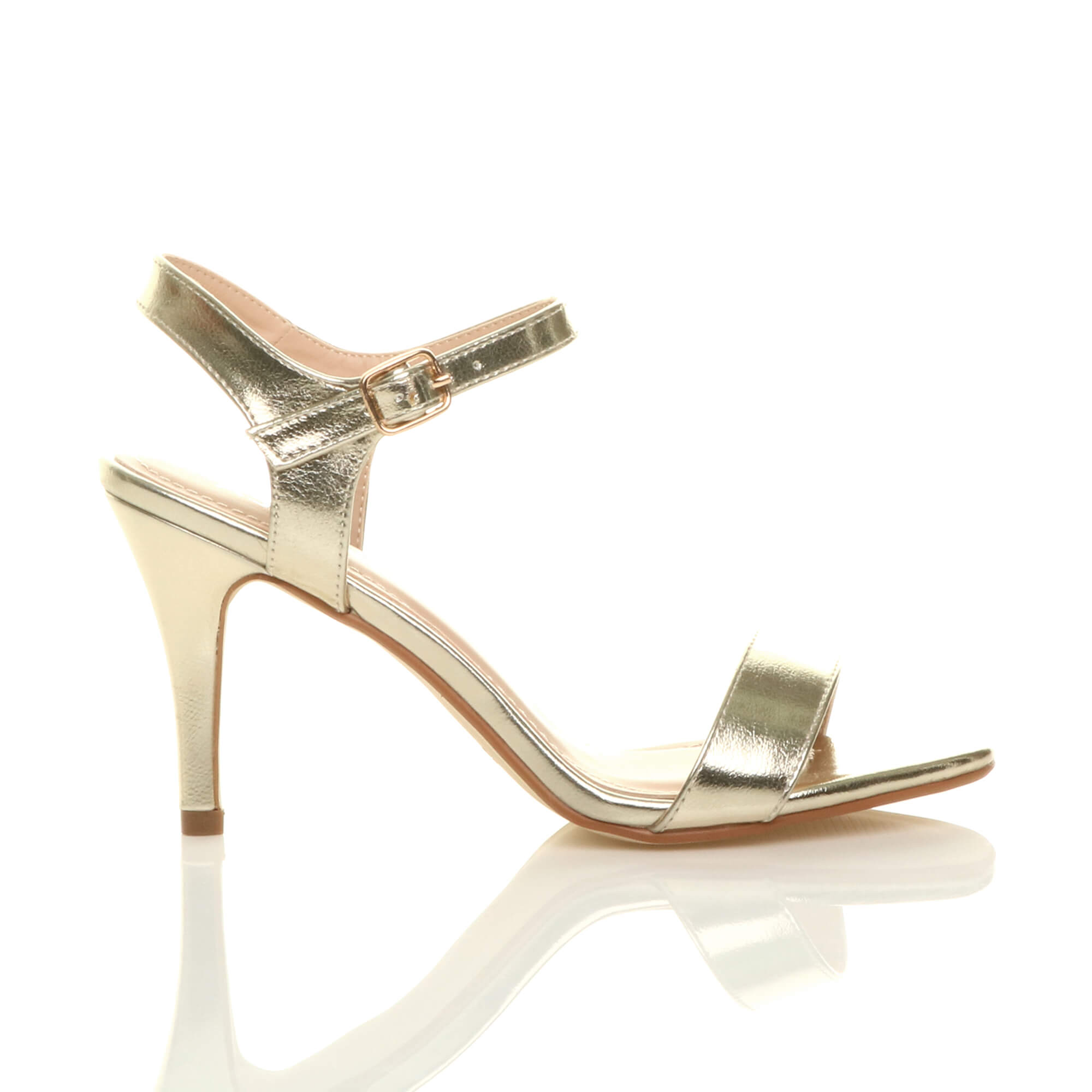 WOMENS-LADIES-HIGH-HEEL-BUCKLE-STRAPPY-BASIC-BARELY-THERE-SANDALS-SHOES-SIZE thumbnail 45