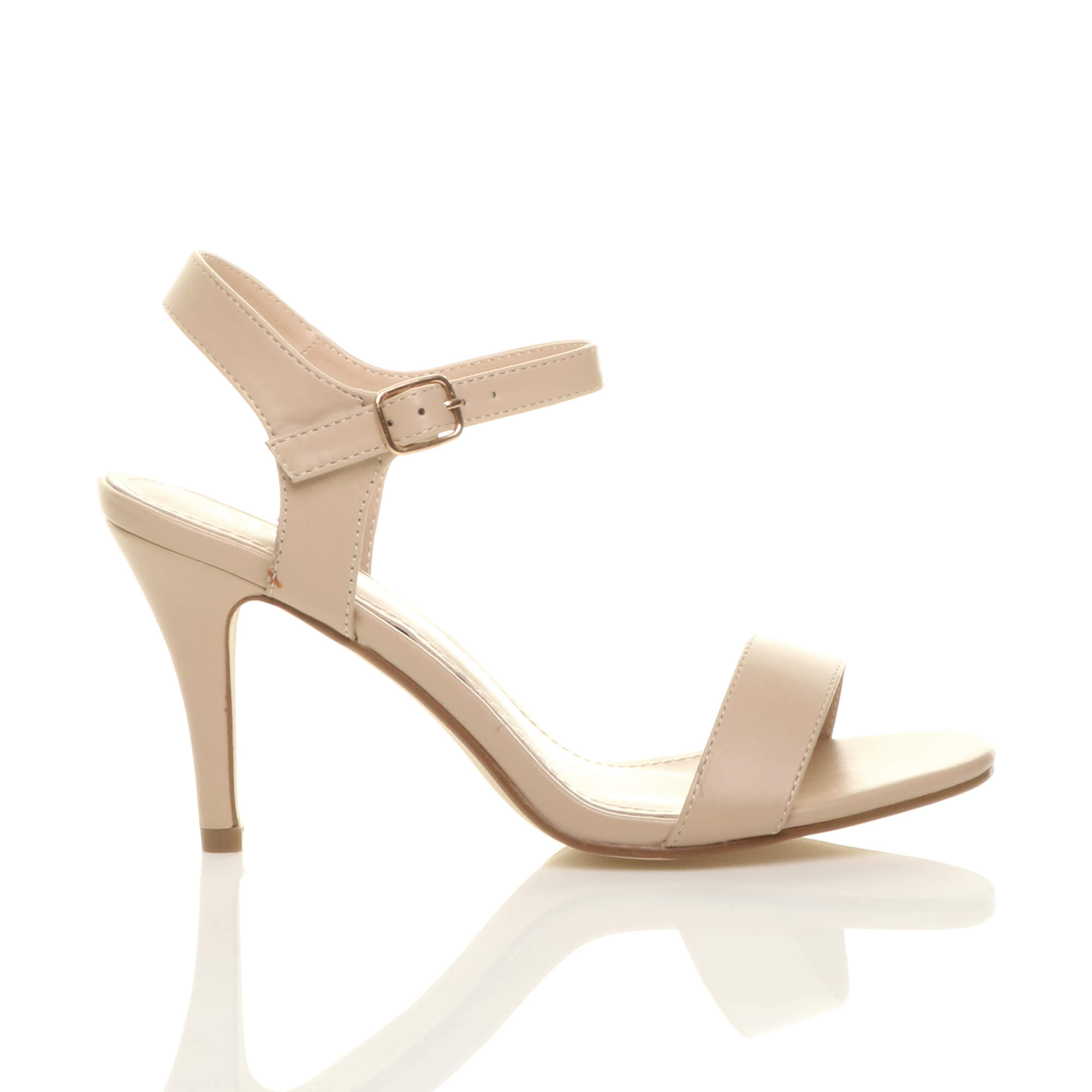 WOMENS-LADIES-HIGH-HEEL-BUCKLE-STRAPPY-BASIC-BARELY-THERE-SANDALS-SHOES-SIZE thumbnail 94