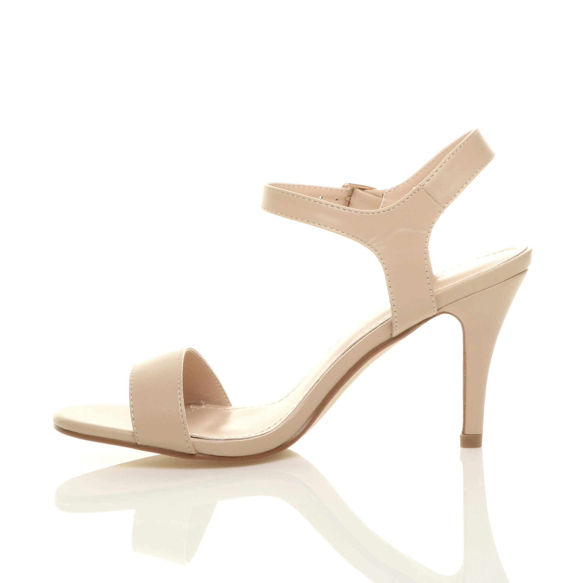 WOMENS-LADIES-HIGH-HEEL-BUCKLE-STRAPPY-BASIC-BARELY-THERE-SANDALS-SHOES-SIZE thumbnail 95