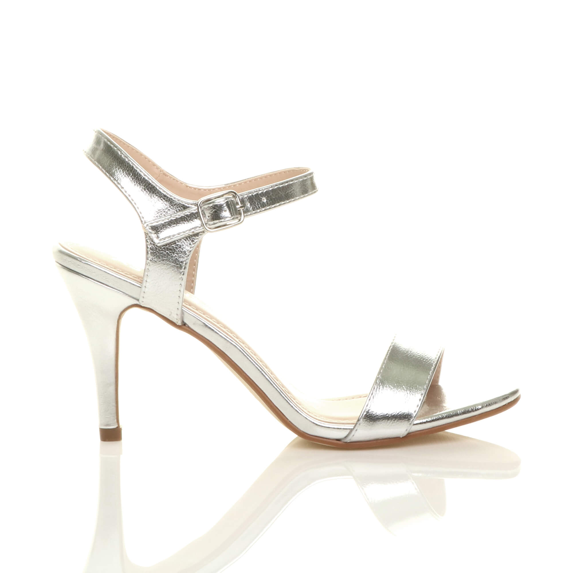 WOMENS-LADIES-HIGH-HEEL-BUCKLE-STRAPPY-BASIC-BARELY-THERE-SANDALS-SHOES-SIZE thumbnail 129