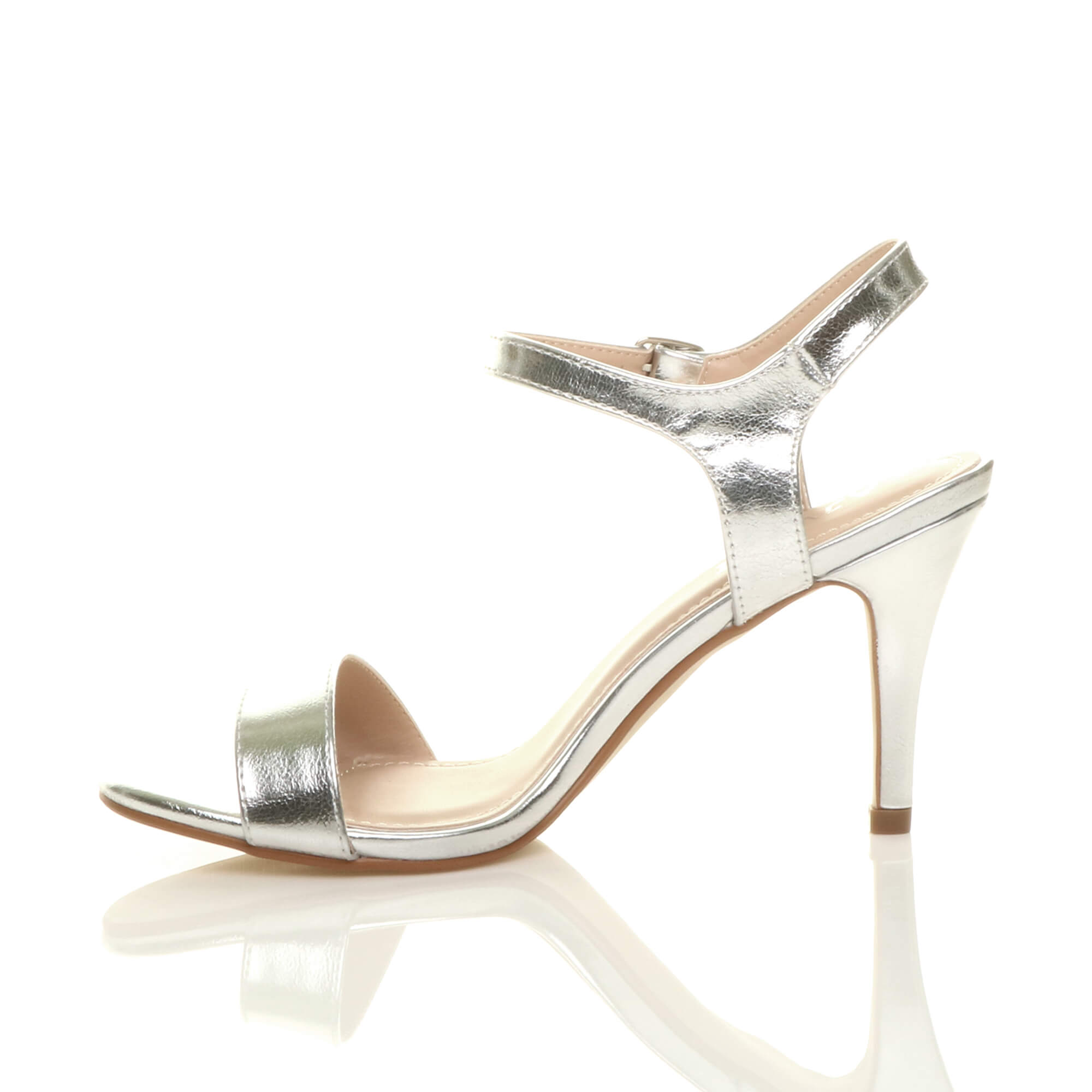 WOMENS-LADIES-HIGH-HEEL-BUCKLE-STRAPPY-BASIC-BARELY-THERE-SANDALS-SHOES-SIZE thumbnail 130