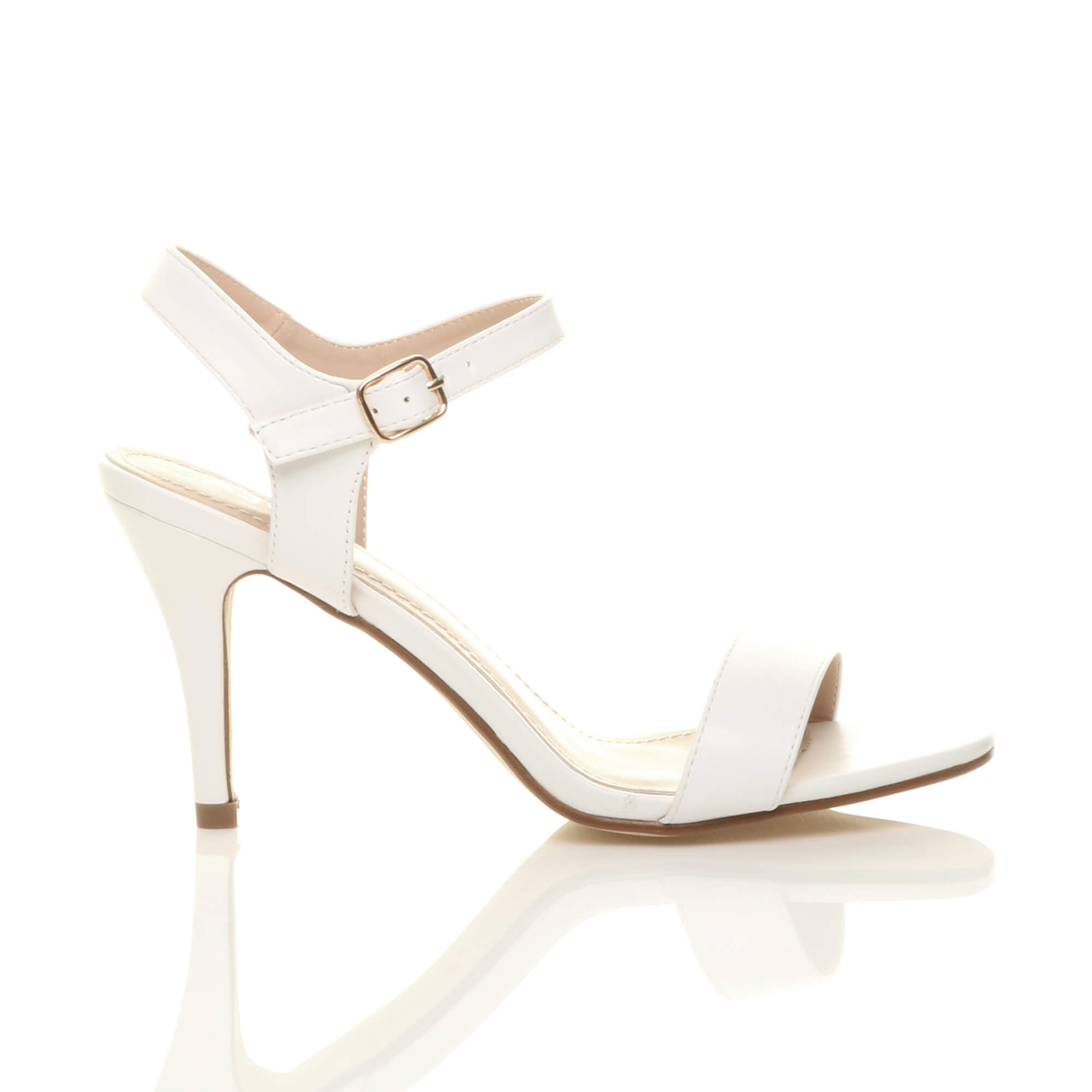 WOMENS-LADIES-HIGH-HEEL-BUCKLE-STRAPPY-BASIC-BARELY-THERE-SANDALS-SHOES-SIZE thumbnail 143