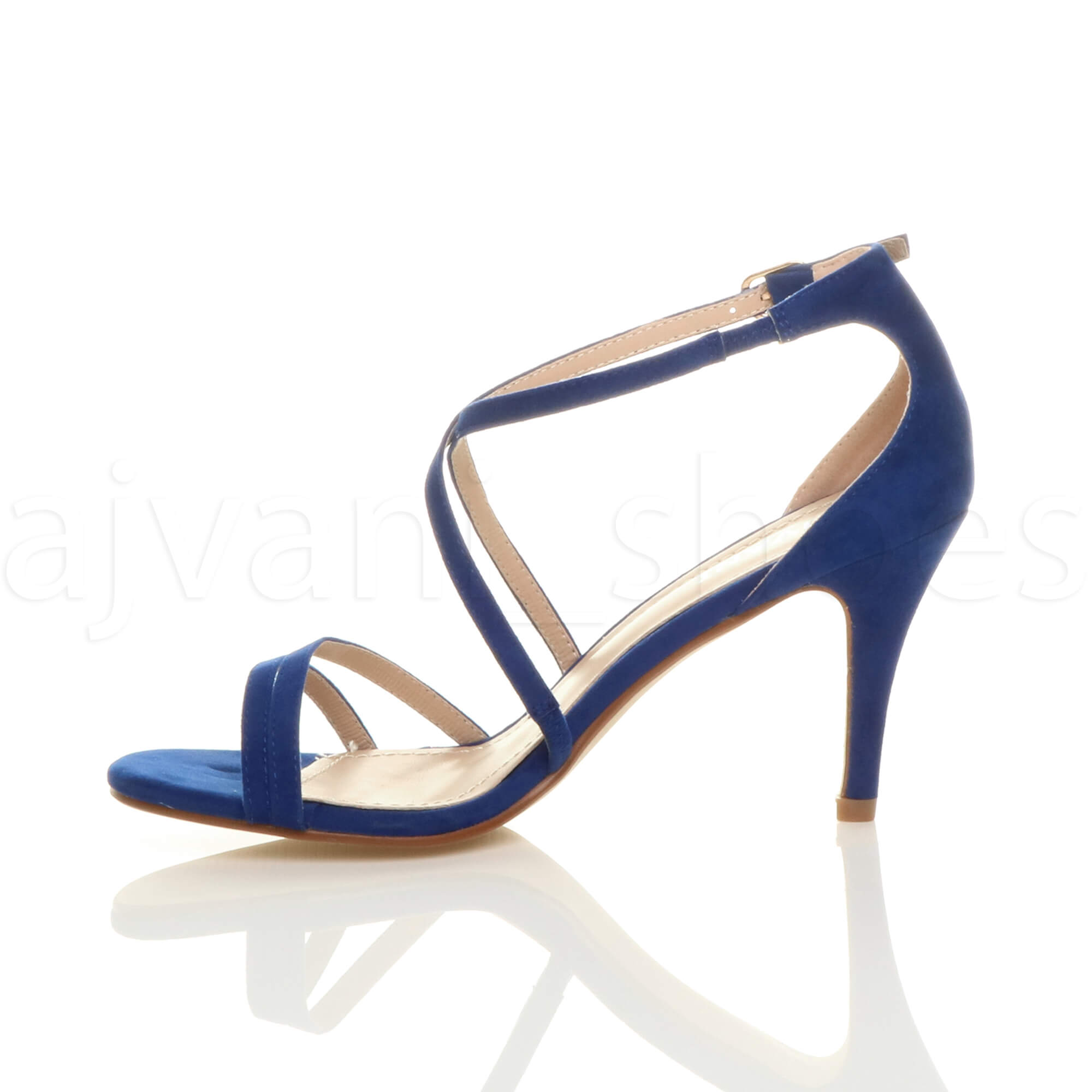 WOMENS-LADIES-MID-HIGH-HEEL-STRAPPY-CROSSOVER-WEDDING-PROM-SANDALS-SHOES-SIZE thumbnail 32