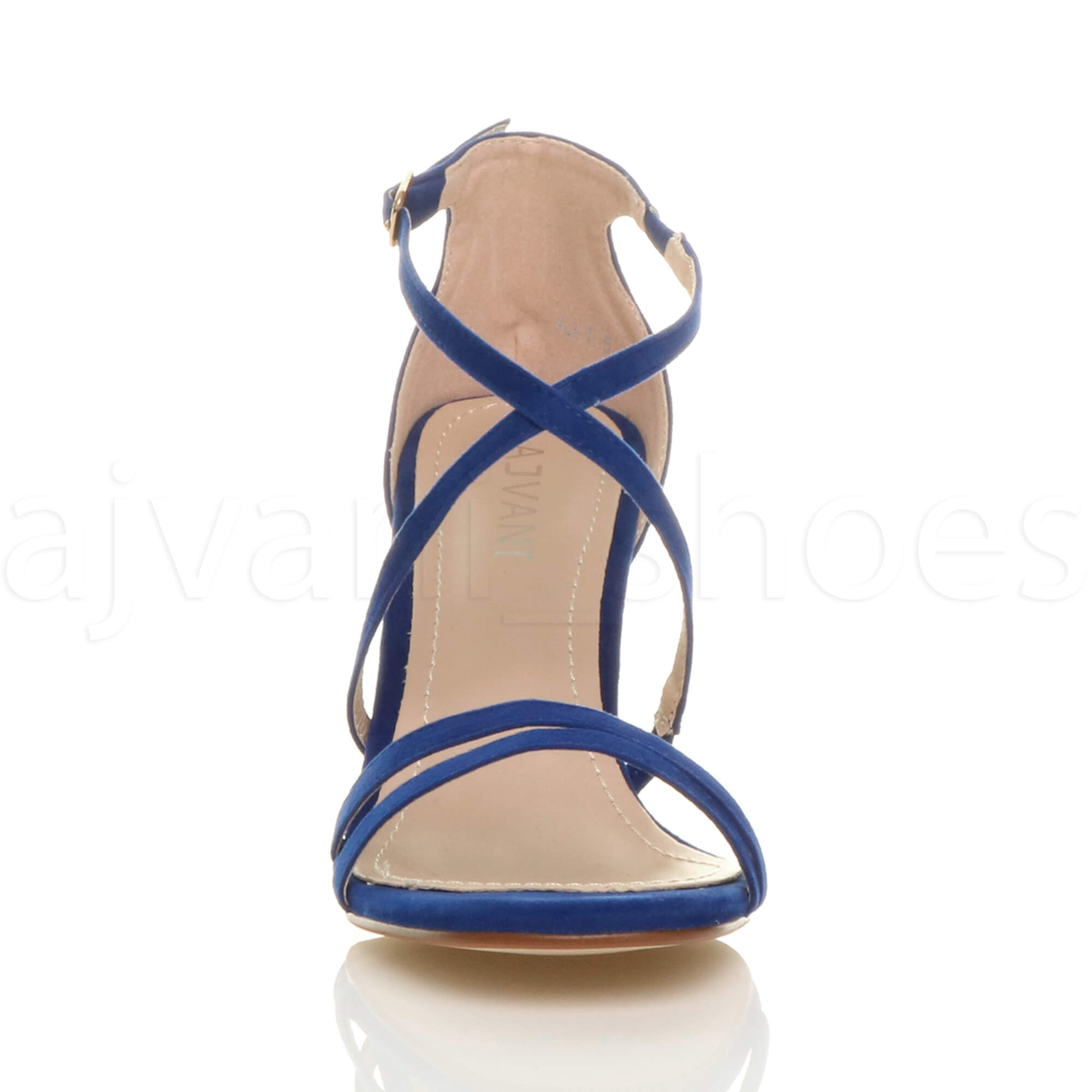 WOMENS-LADIES-MID-HIGH-HEEL-STRAPPY-CROSSOVER-WEDDING-PROM-SANDALS-SHOES-SIZE thumbnail 34