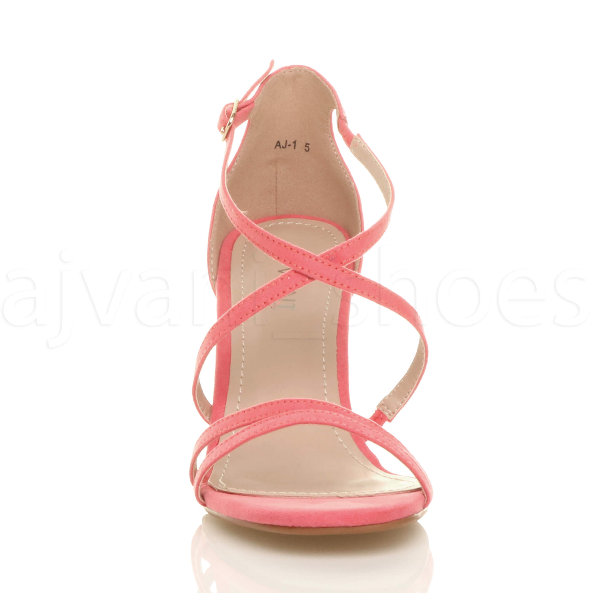 WOMENS-LADIES-MID-HIGH-HEEL-STRAPPY-CROSSOVER-WEDDING-PROM-SANDALS-SHOES-SIZE thumbnail 41
