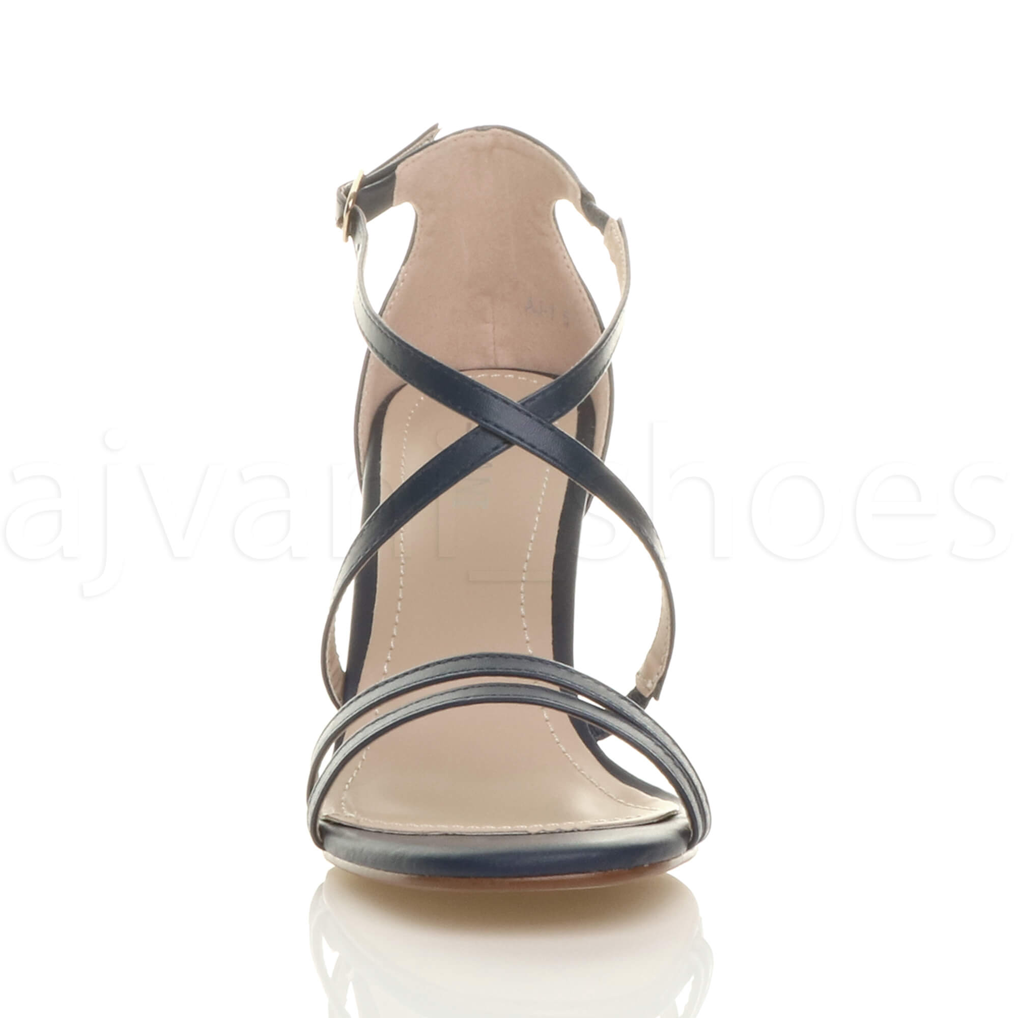 WOMENS-LADIES-MID-HIGH-HEEL-STRAPPY-CROSSOVER-WEDDING-PROM-SANDALS-SHOES-SIZE thumbnail 83