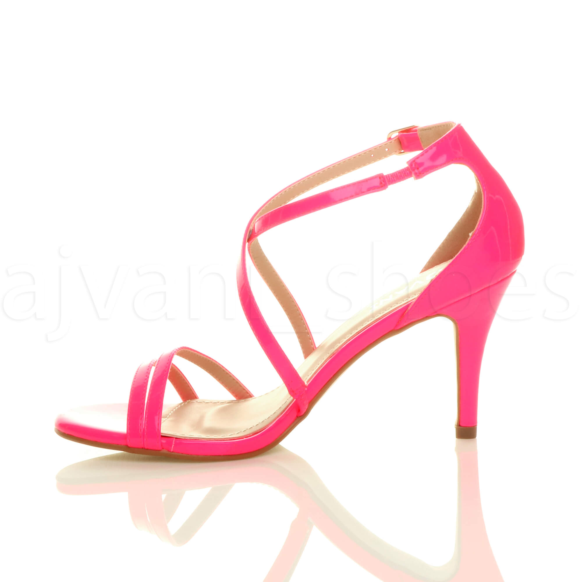 WOMENS-LADIES-MID-HIGH-HEEL-STRAPPY-CROSSOVER-WEDDING-PROM-SANDALS-SHOES-SIZE thumbnail 95