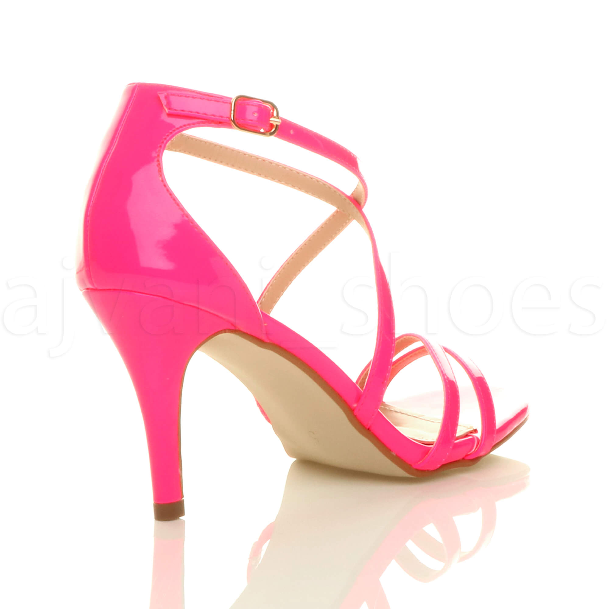 WOMENS-LADIES-MID-HIGH-HEEL-STRAPPY-CROSSOVER-WEDDING-PROM-SANDALS-SHOES-SIZE thumbnail 96