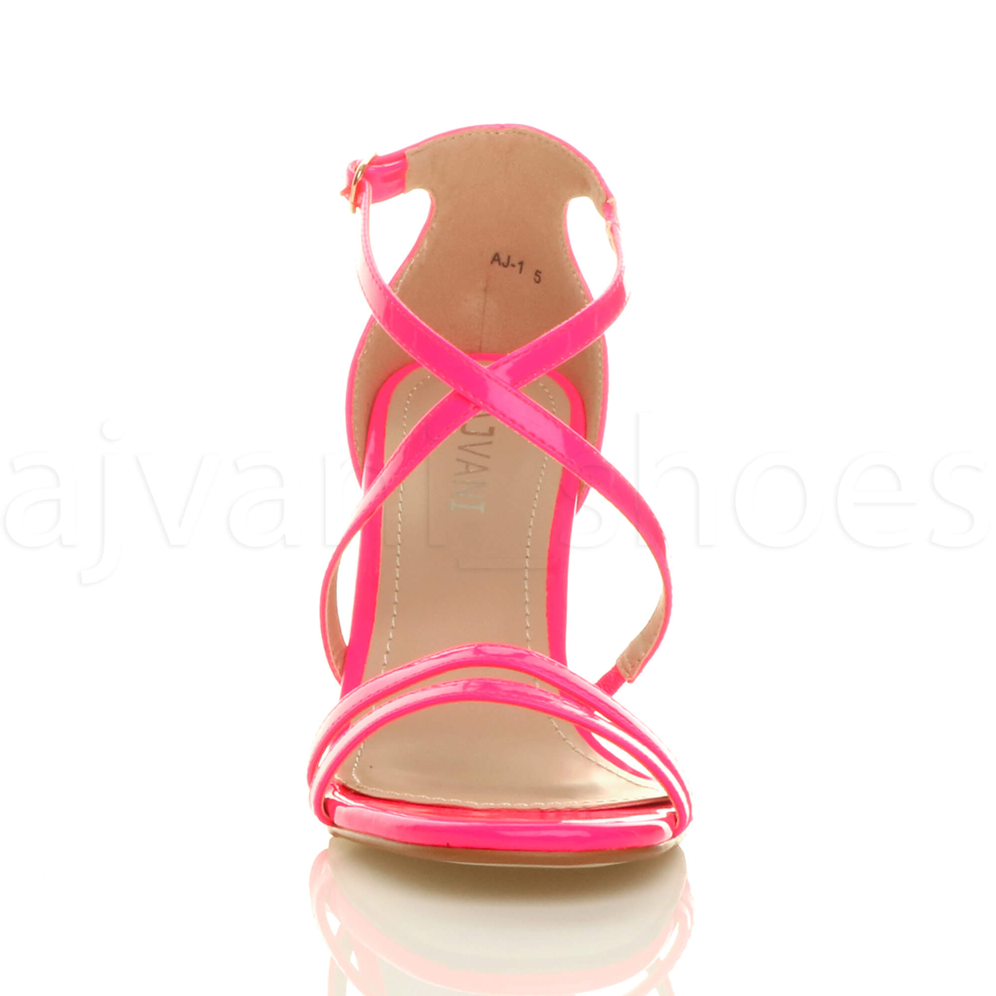 WOMENS-LADIES-MID-HIGH-HEEL-STRAPPY-CROSSOVER-WEDDING-PROM-SANDALS-SHOES-SIZE thumbnail 97