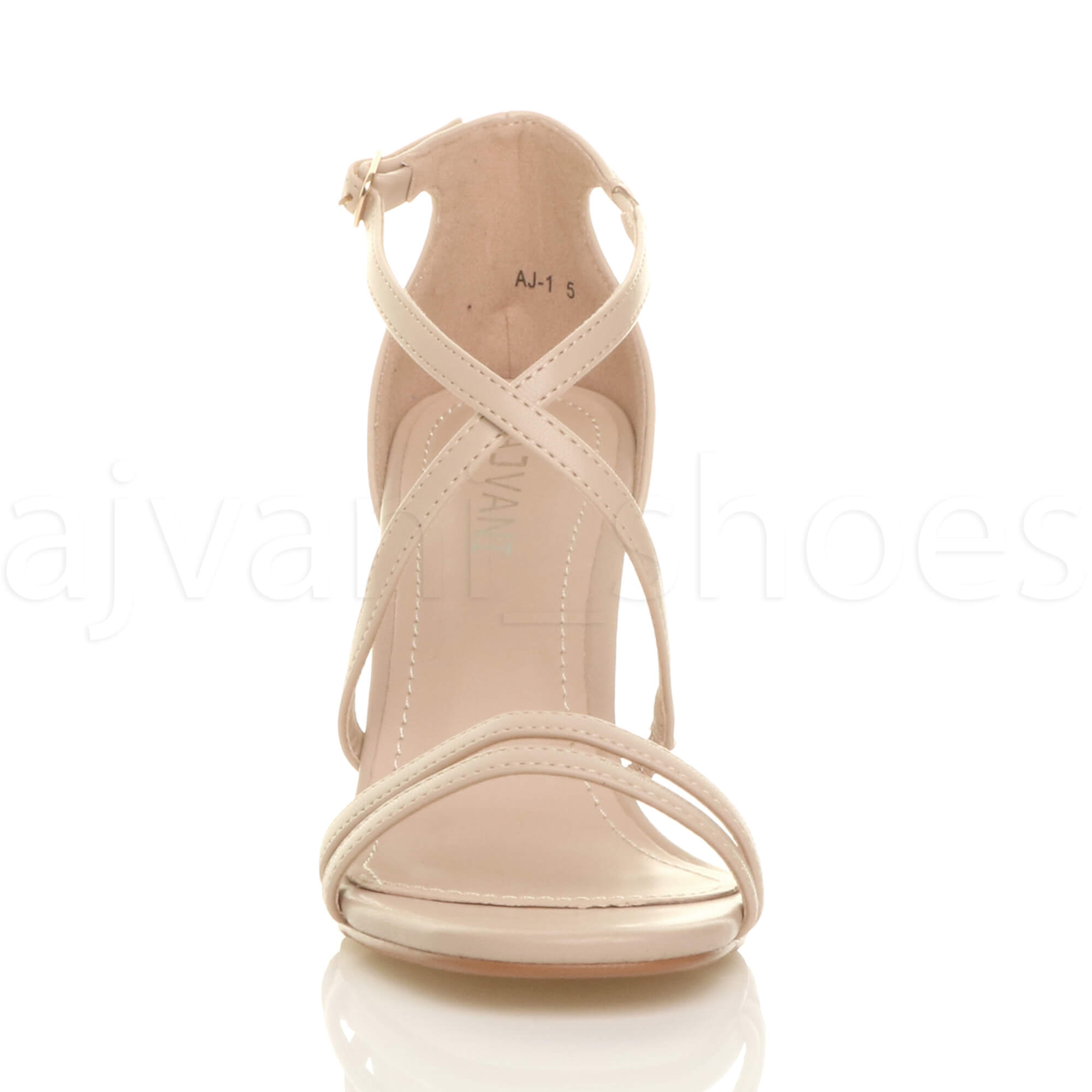 WOMENS-LADIES-MID-HIGH-HEEL-STRAPPY-CROSSOVER-WEDDING-PROM-SANDALS-SHOES-SIZE thumbnail 111