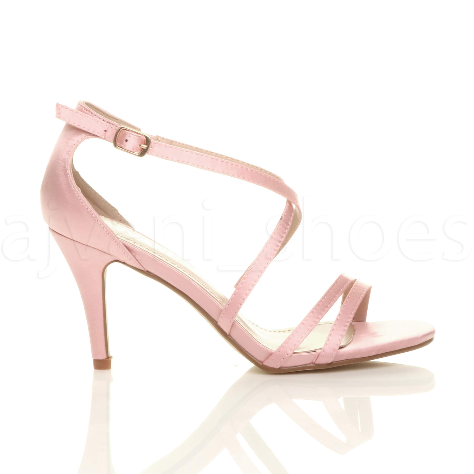 WOMENS-LADIES-MID-HIGH-HEEL-STRAPPY-CROSSOVER-WEDDING-PROM-SANDALS-SHOES-SIZE thumbnail 3