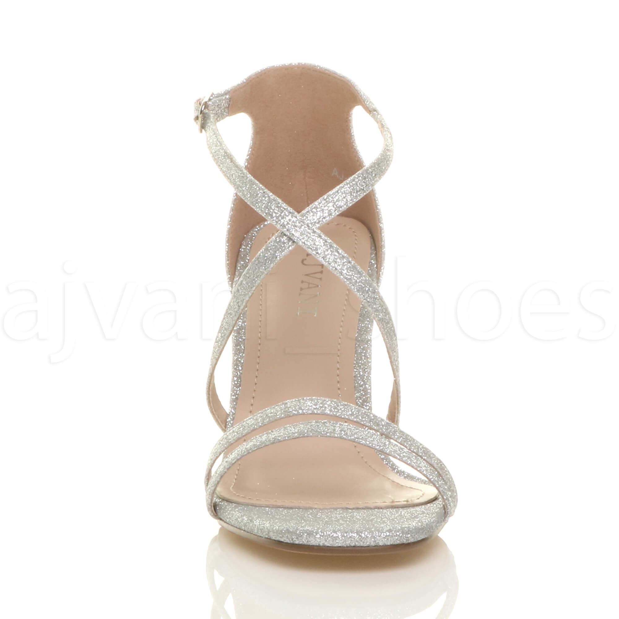 WOMENS-LADIES-MID-HIGH-HEEL-STRAPPY-CROSSOVER-WEDDING-PROM-SANDALS-SHOES-SIZE thumbnail 146