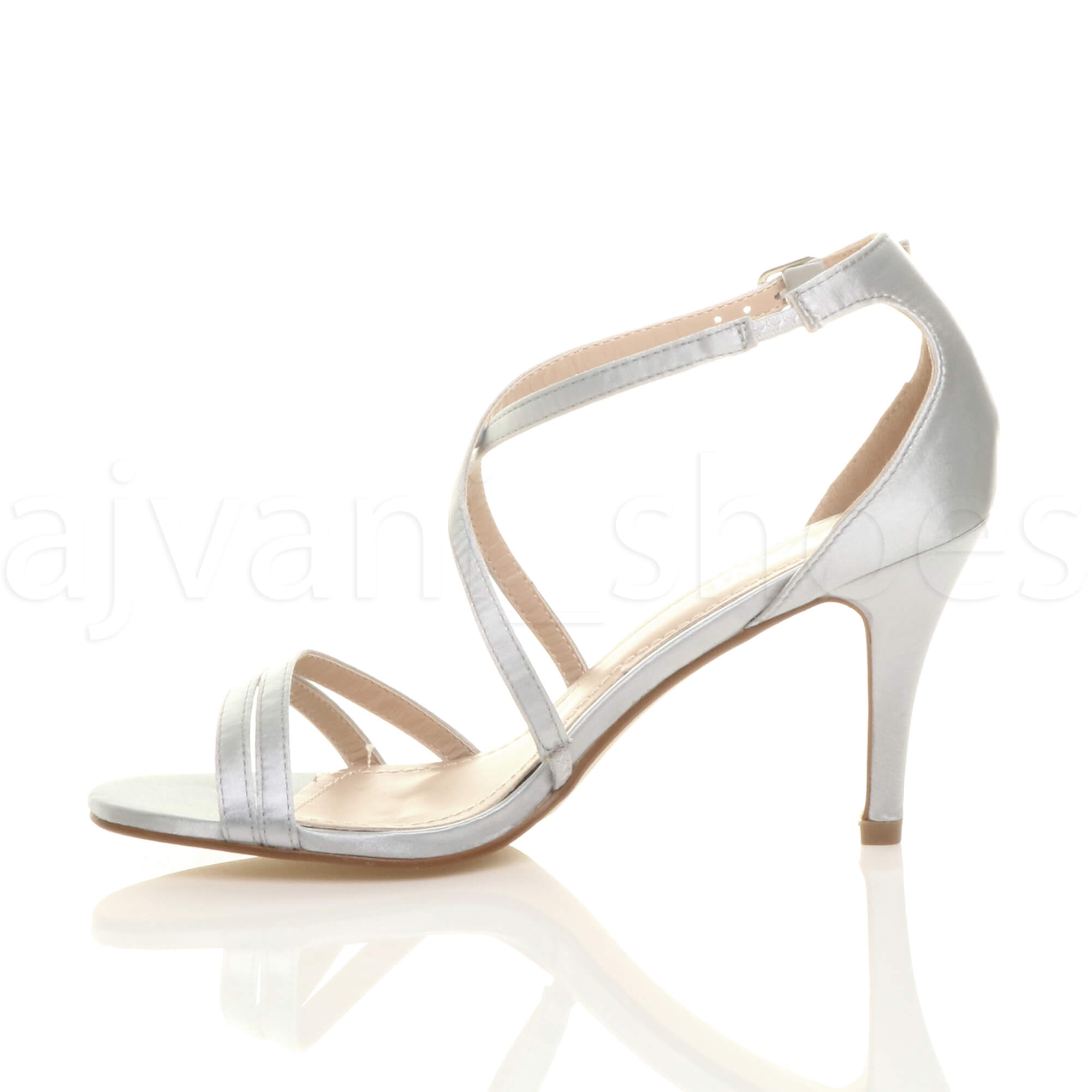 WOMENS-LADIES-MID-HIGH-HEEL-STRAPPY-CROSSOVER-WEDDING-PROM-SANDALS-SHOES-SIZE thumbnail 158