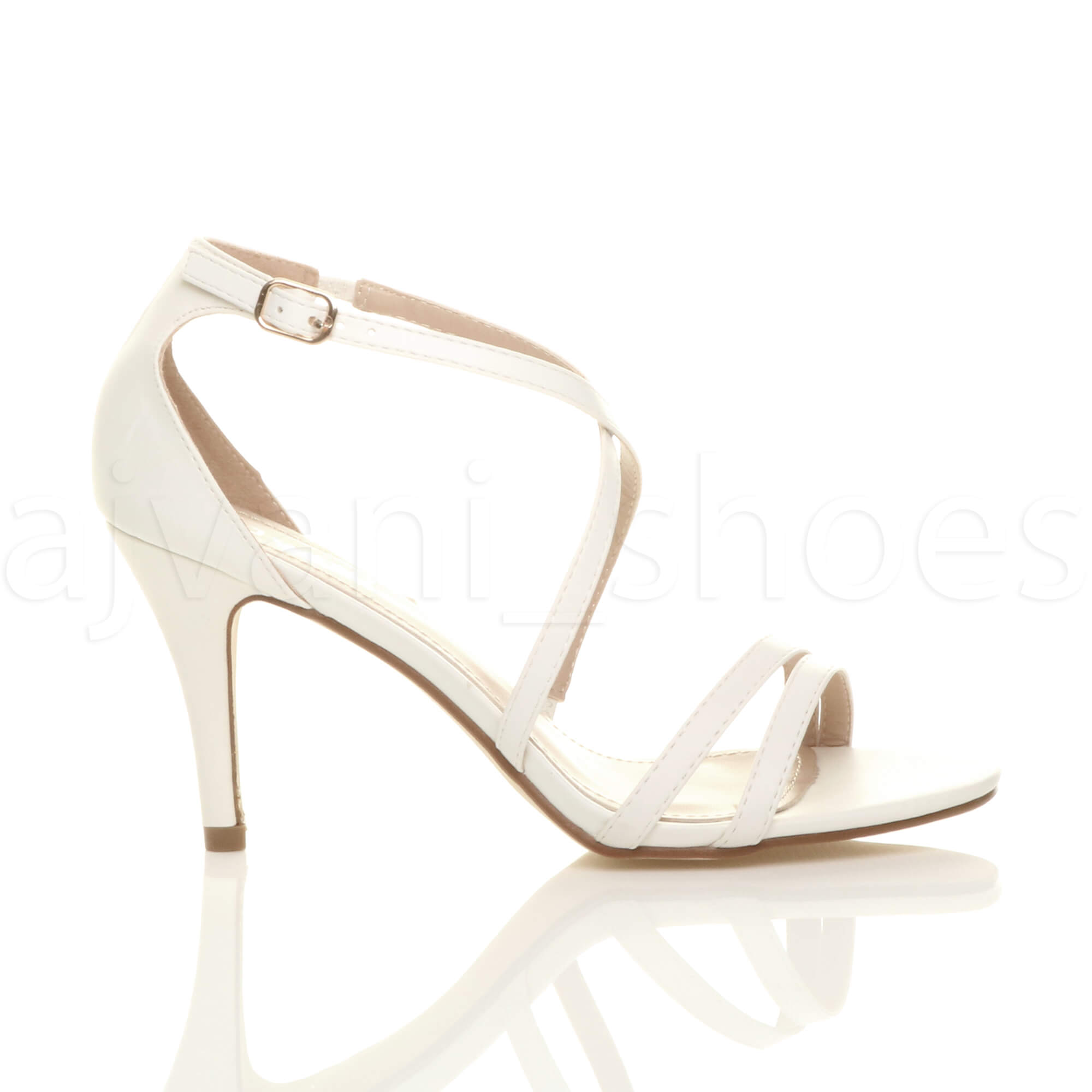 WOMENS-LADIES-MID-HIGH-HEEL-STRAPPY-CROSSOVER-WEDDING-PROM-SANDALS-SHOES-SIZE thumbnail 164
