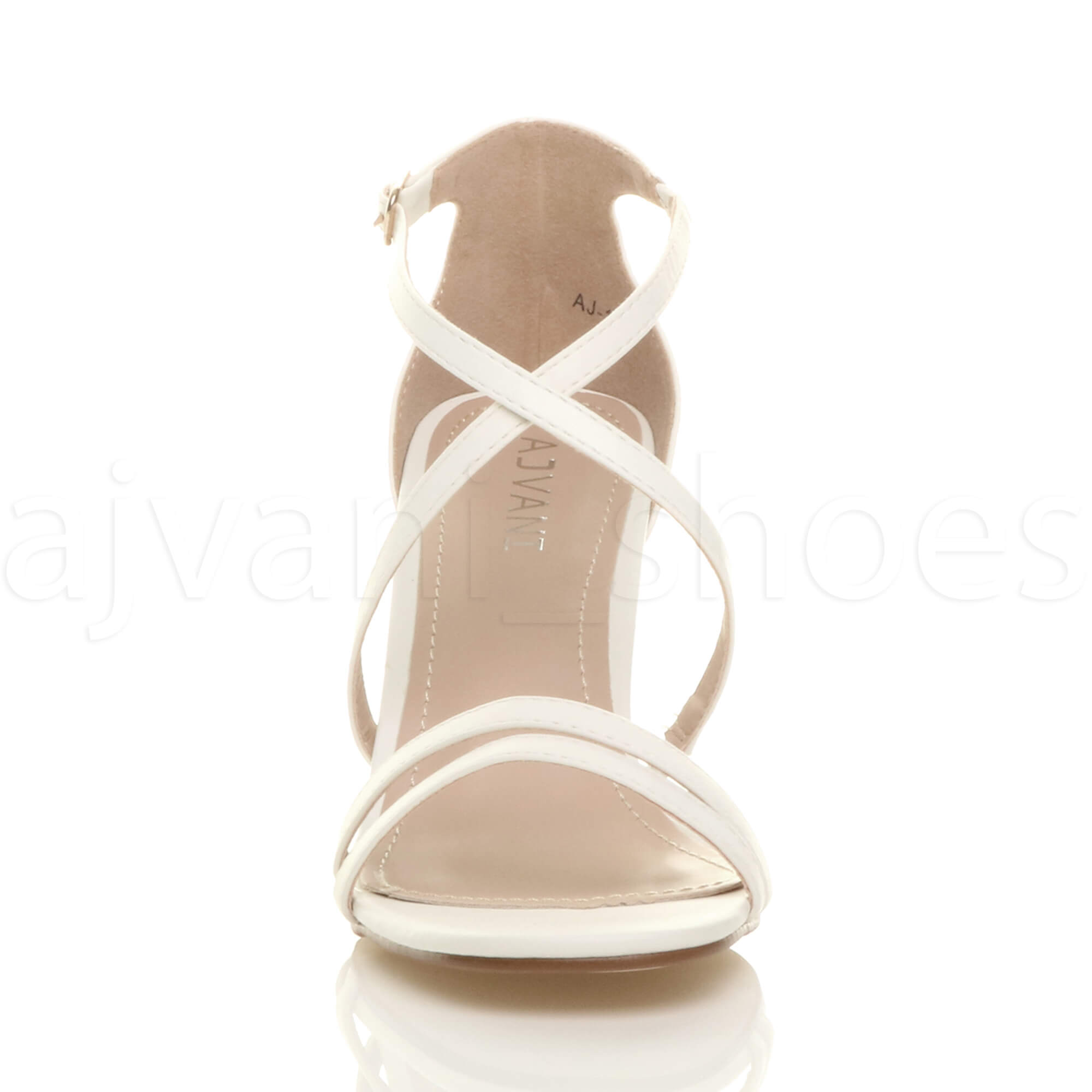 WOMENS-LADIES-MID-HIGH-HEEL-STRAPPY-CROSSOVER-WEDDING-PROM-SANDALS-SHOES-SIZE thumbnail 167