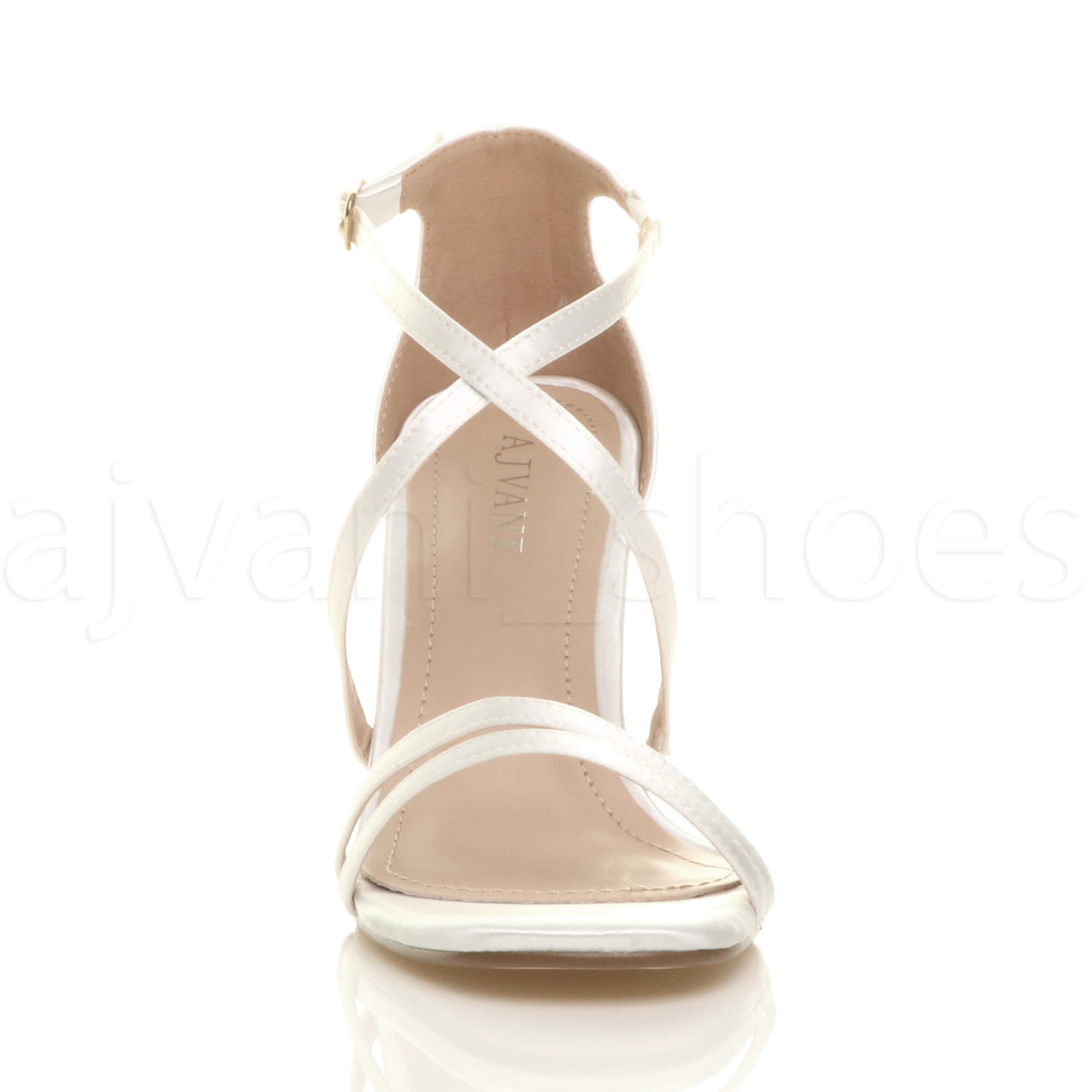 WOMENS-LADIES-MID-HIGH-HEEL-STRAPPY-CROSSOVER-WEDDING-PROM-SANDALS-SHOES-SIZE thumbnail 174