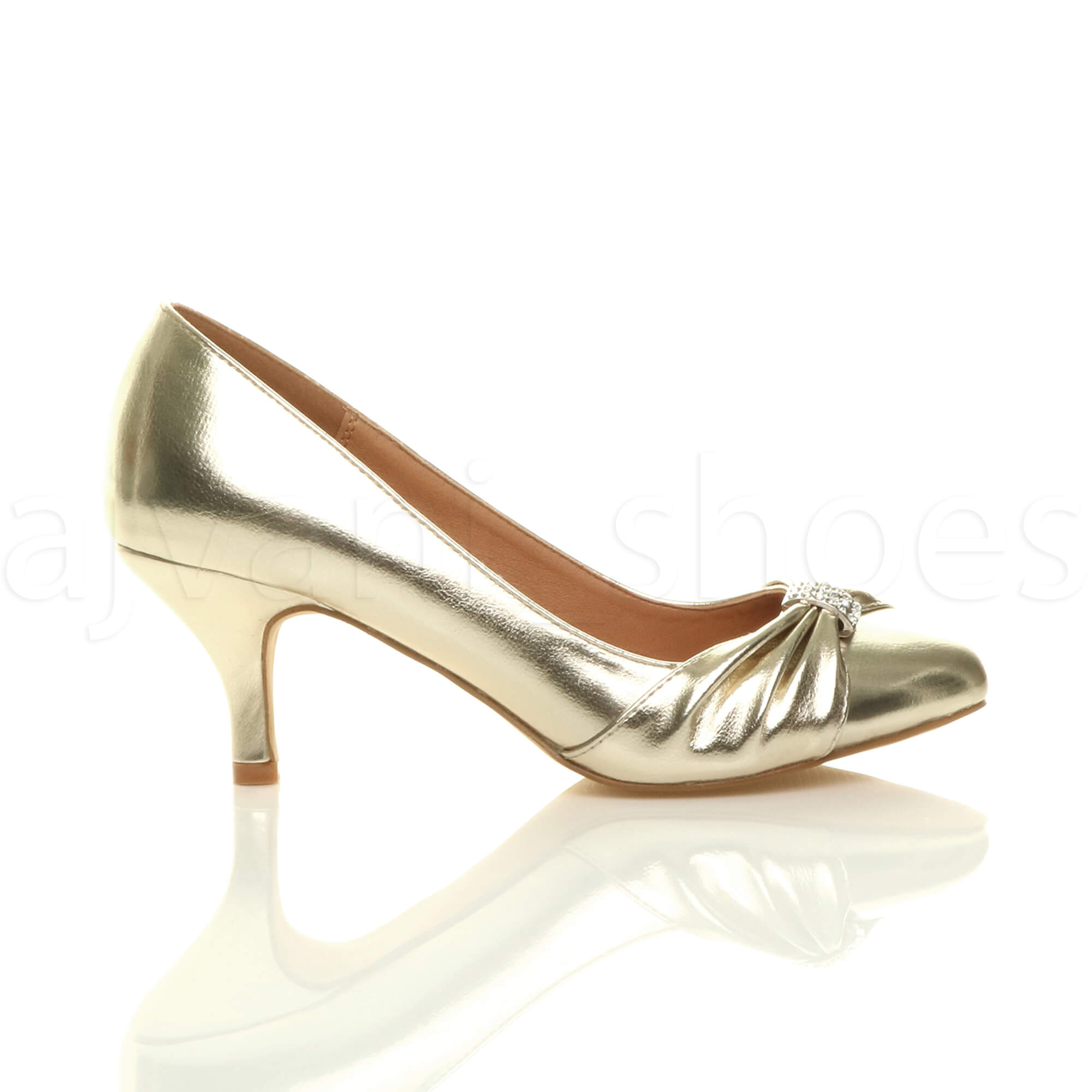 WOMENS-LADIES-MID-HEEL-RUCHED-DIAMANTE-WEDDING-PROM-EVENING-COURT-SHOES-SIZE thumbnail 27