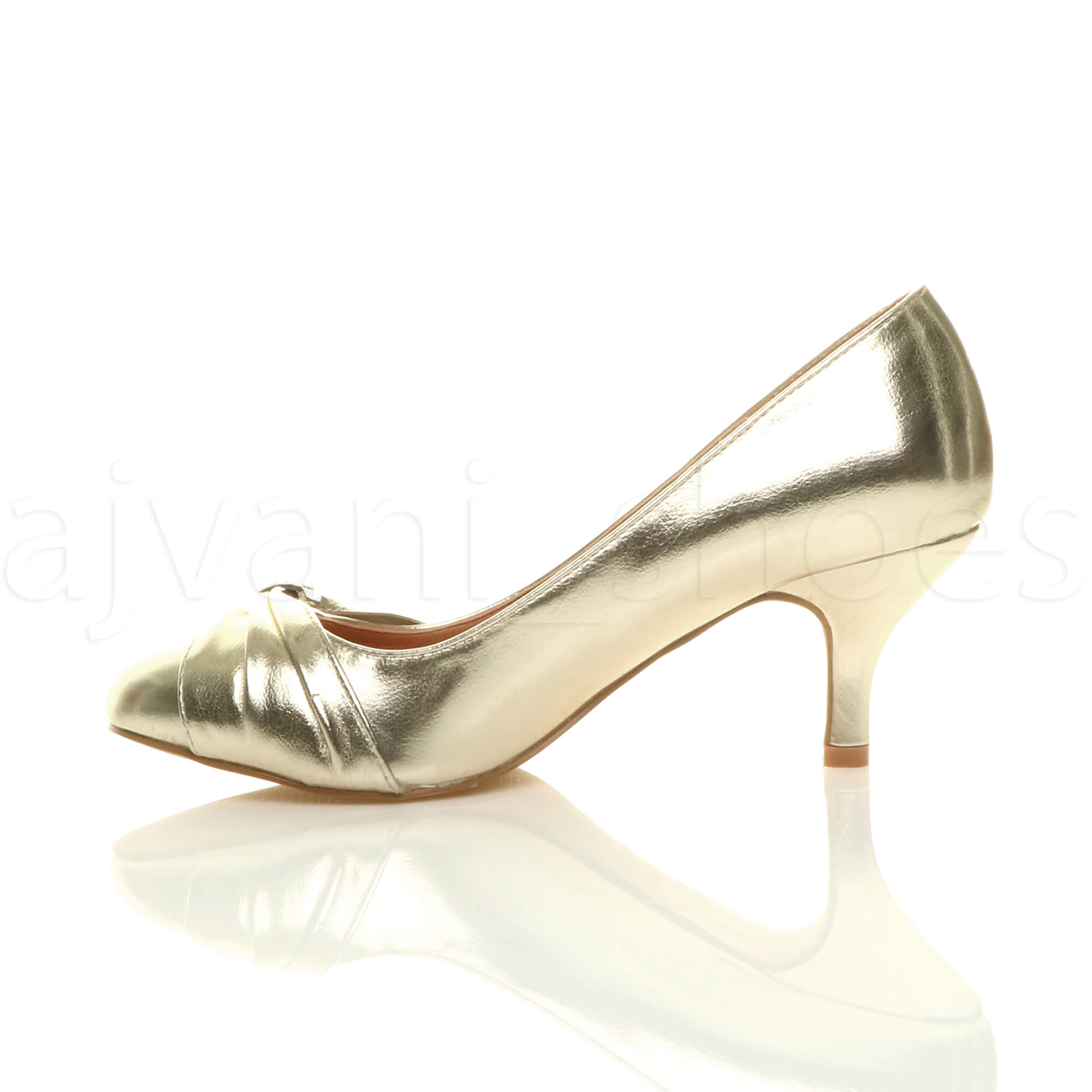 WOMENS-LADIES-MID-HEEL-RUCHED-DIAMANTE-WEDDING-PROM-EVENING-COURT-SHOES-SIZE thumbnail 28