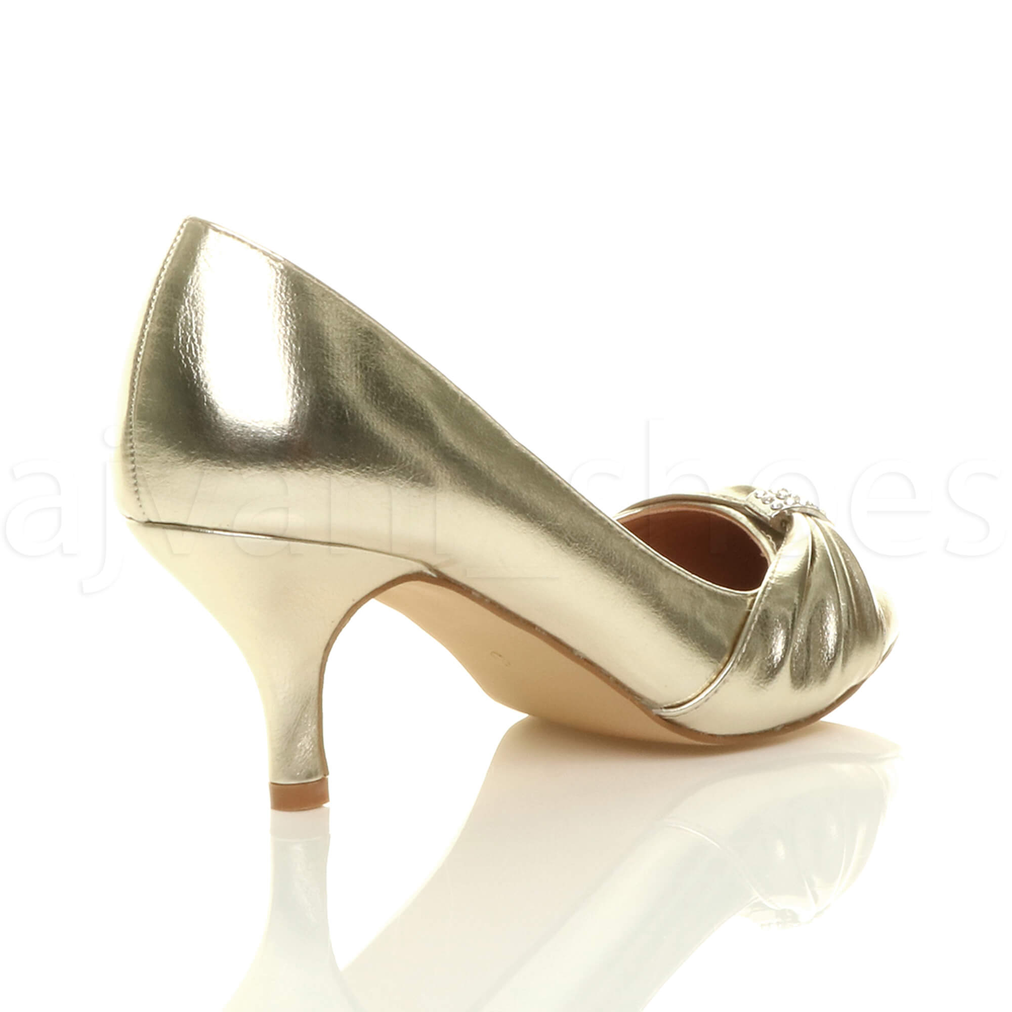 WOMENS-LADIES-MID-HEEL-RUCHED-DIAMANTE-WEDDING-PROM-EVENING-COURT-SHOES-SIZE thumbnail 29