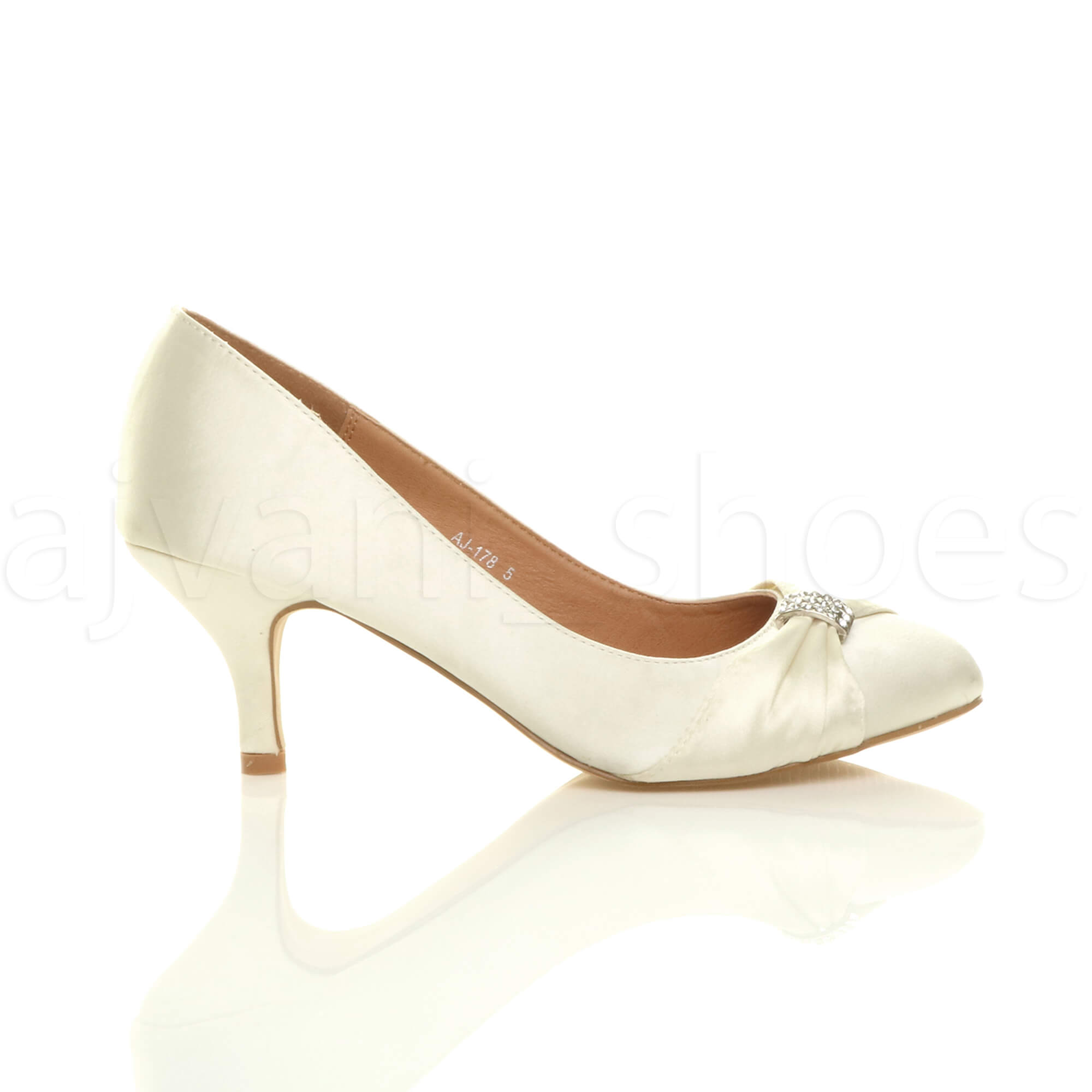 WOMENS-LADIES-MID-HEEL-RUCHED-DIAMANTE-WEDDING-PROM-EVENING-COURT-SHOES-SIZE thumbnail 35