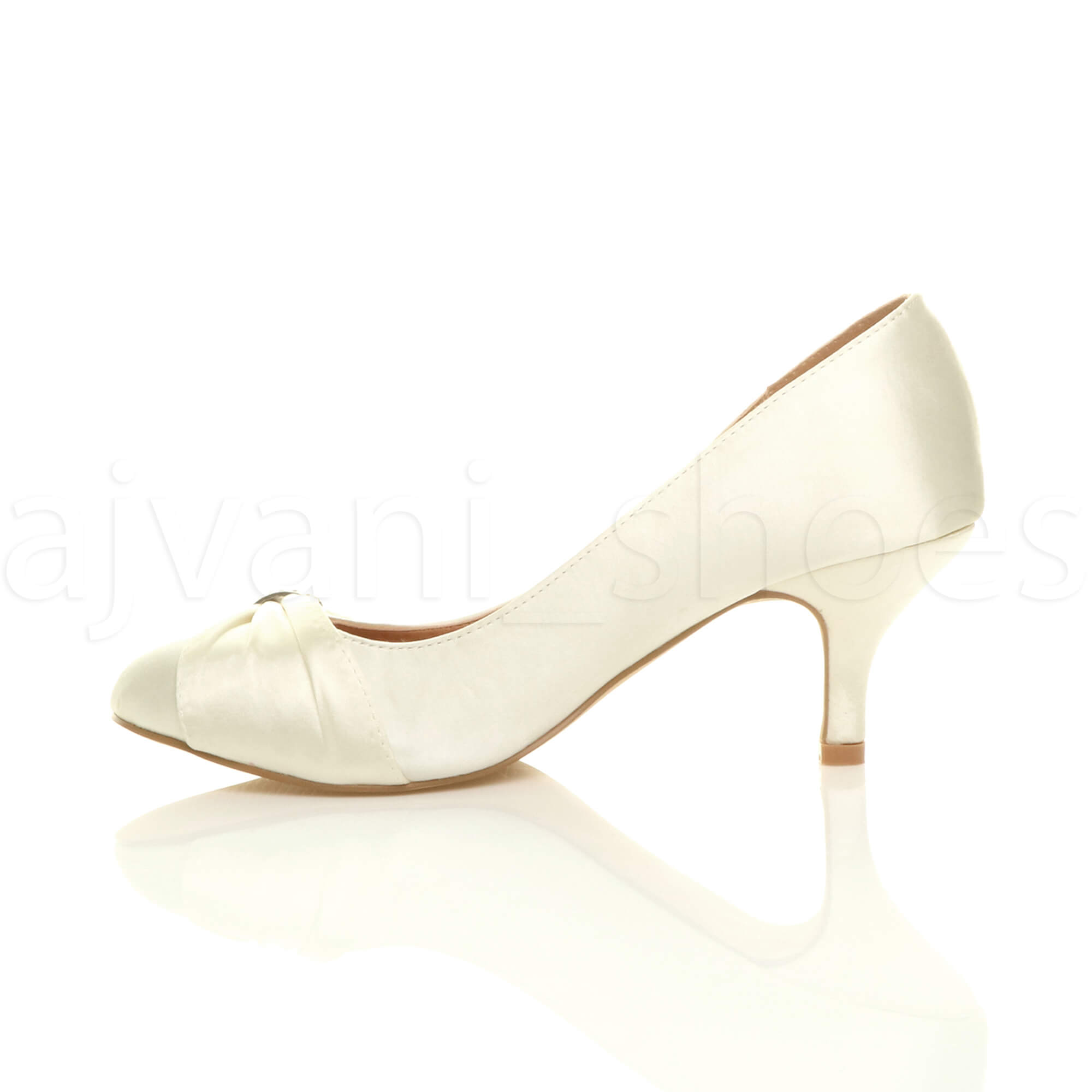 WOMENS-LADIES-MID-HEEL-RUCHED-DIAMANTE-WEDDING-PROM-EVENING-COURT-SHOES-SIZE thumbnail 36