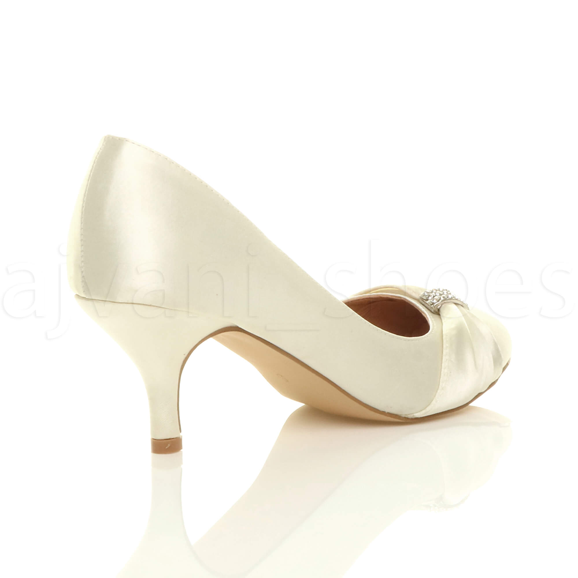 WOMENS-LADIES-MID-HEEL-RUCHED-DIAMANTE-WEDDING-PROM-EVENING-COURT-SHOES-SIZE thumbnail 37