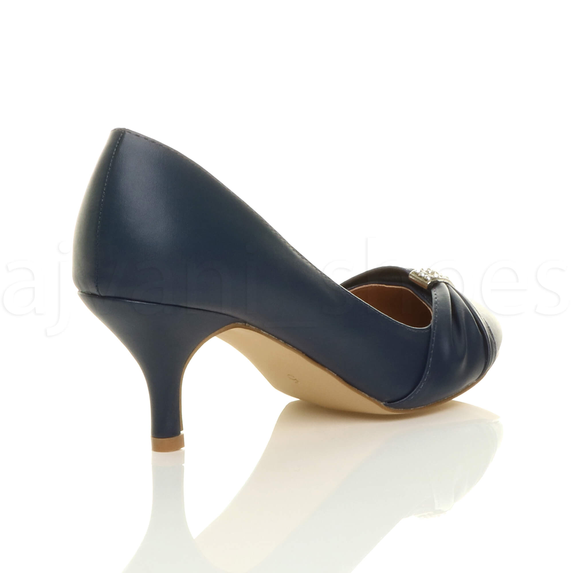 WOMENS-LADIES-MID-HEEL-RUCHED-DIAMANTE-WEDDING-PROM-EVENING-COURT-SHOES-SIZE thumbnail 45