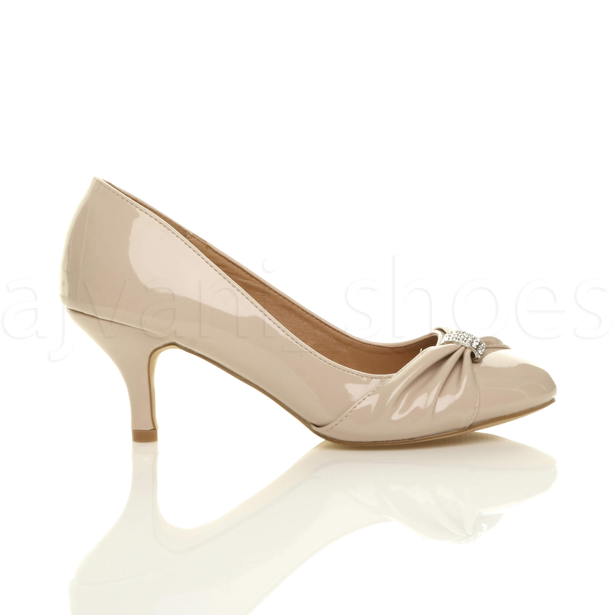 WOMENS-LADIES-MID-HEEL-RUCHED-DIAMANTE-WEDDING-PROM-EVENING-COURT-SHOES-SIZE thumbnail 67