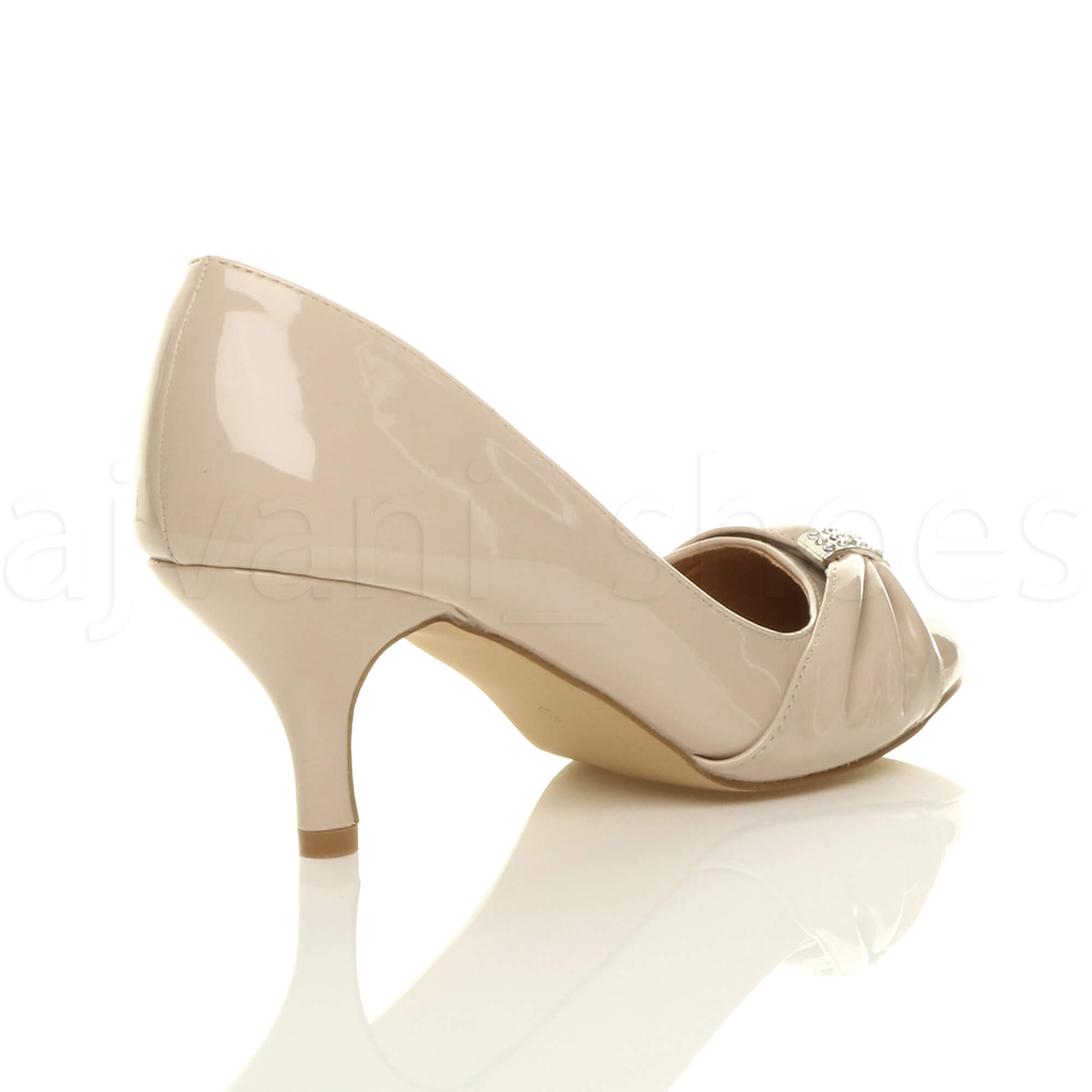 WOMENS-LADIES-MID-HEEL-RUCHED-DIAMANTE-WEDDING-PROM-EVENING-COURT-SHOES-SIZE thumbnail 69