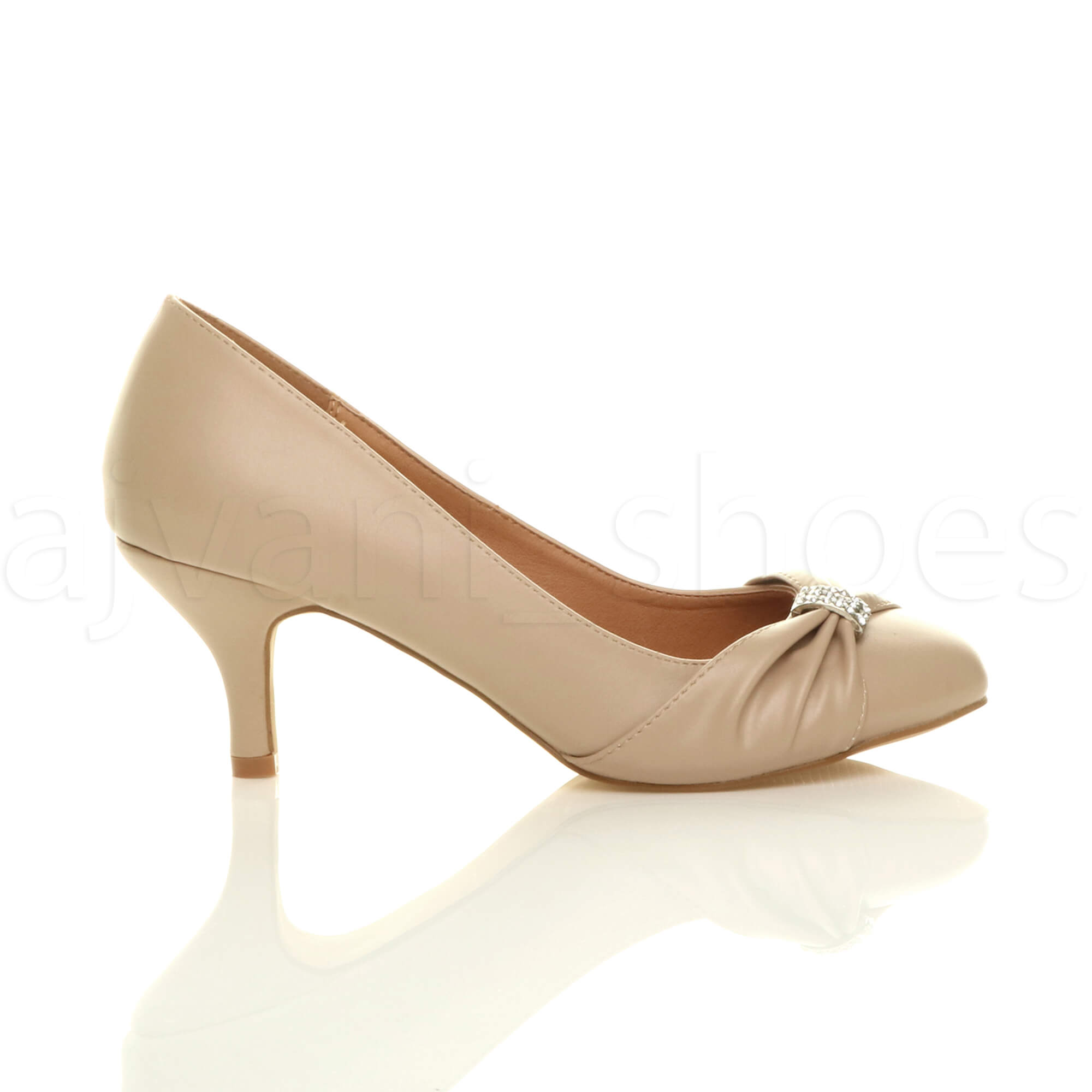 WOMENS-LADIES-MID-HEEL-RUCHED-DIAMANTE-WEDDING-PROM-EVENING-COURT-SHOES-SIZE thumbnail 59