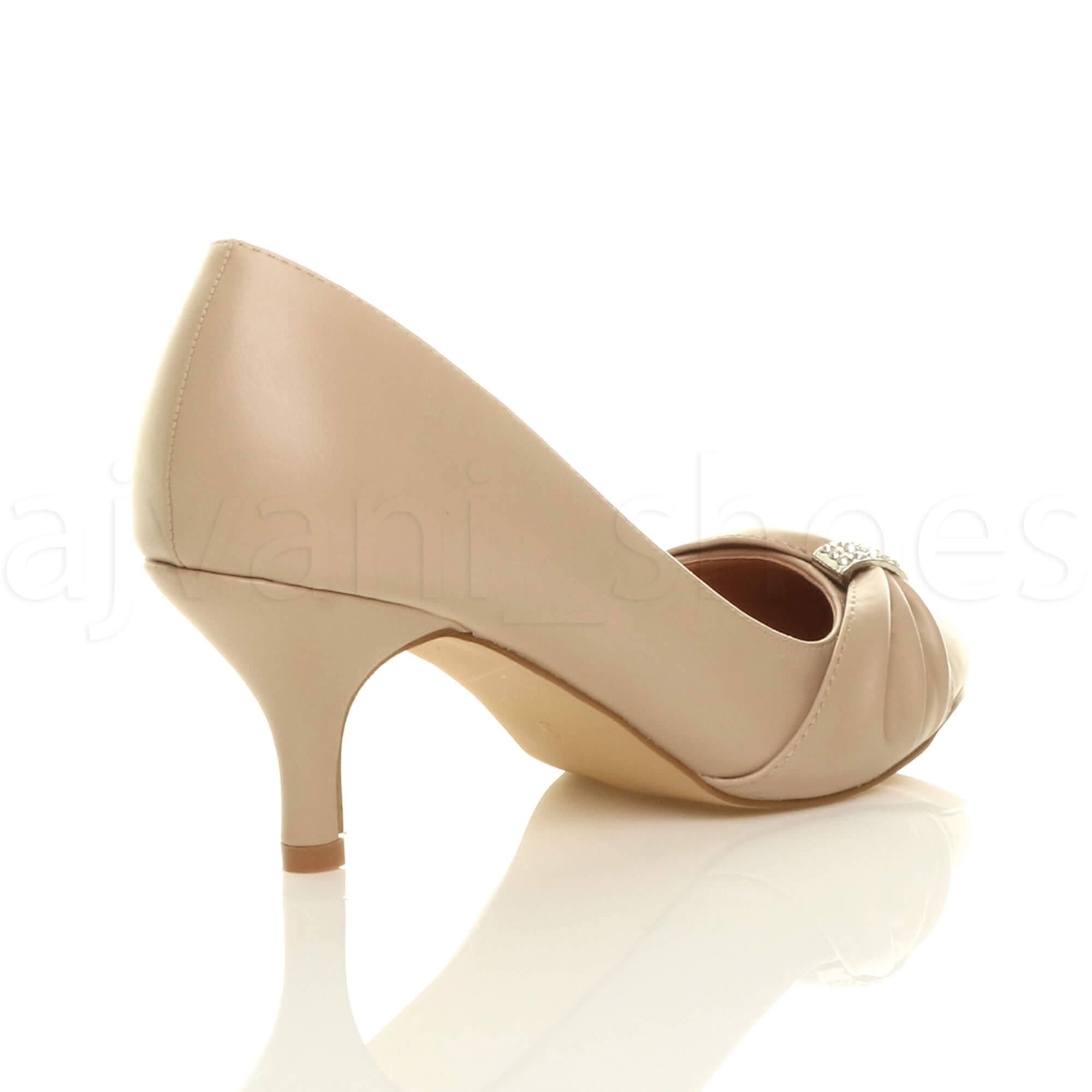 WOMENS-LADIES-MID-HEEL-RUCHED-DIAMANTE-WEDDING-PROM-EVENING-COURT-SHOES-SIZE thumbnail 61
