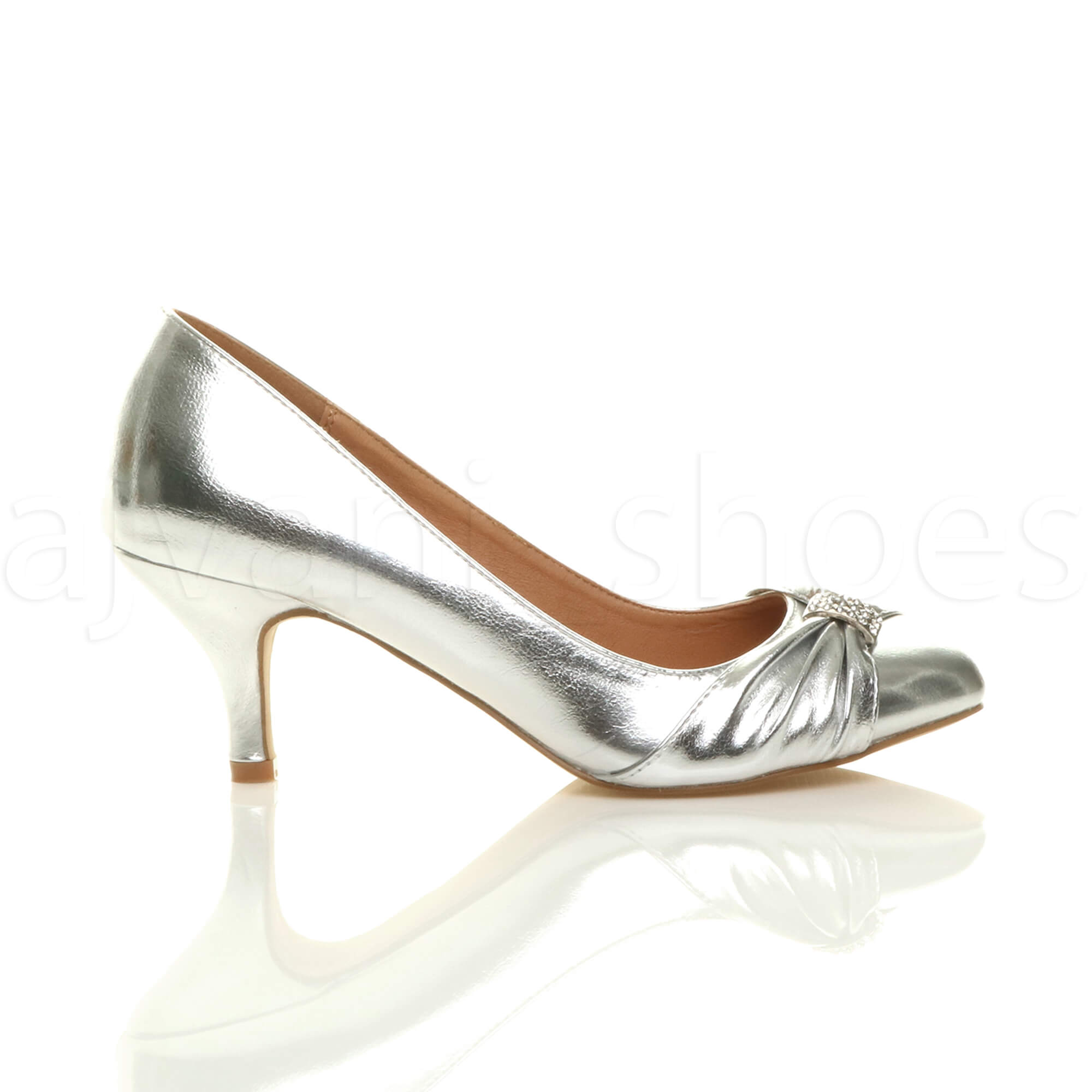 WOMENS-LADIES-MID-HEEL-RUCHED-DIAMANTE-WEDDING-PROM-EVENING-COURT-SHOES-SIZE thumbnail 83