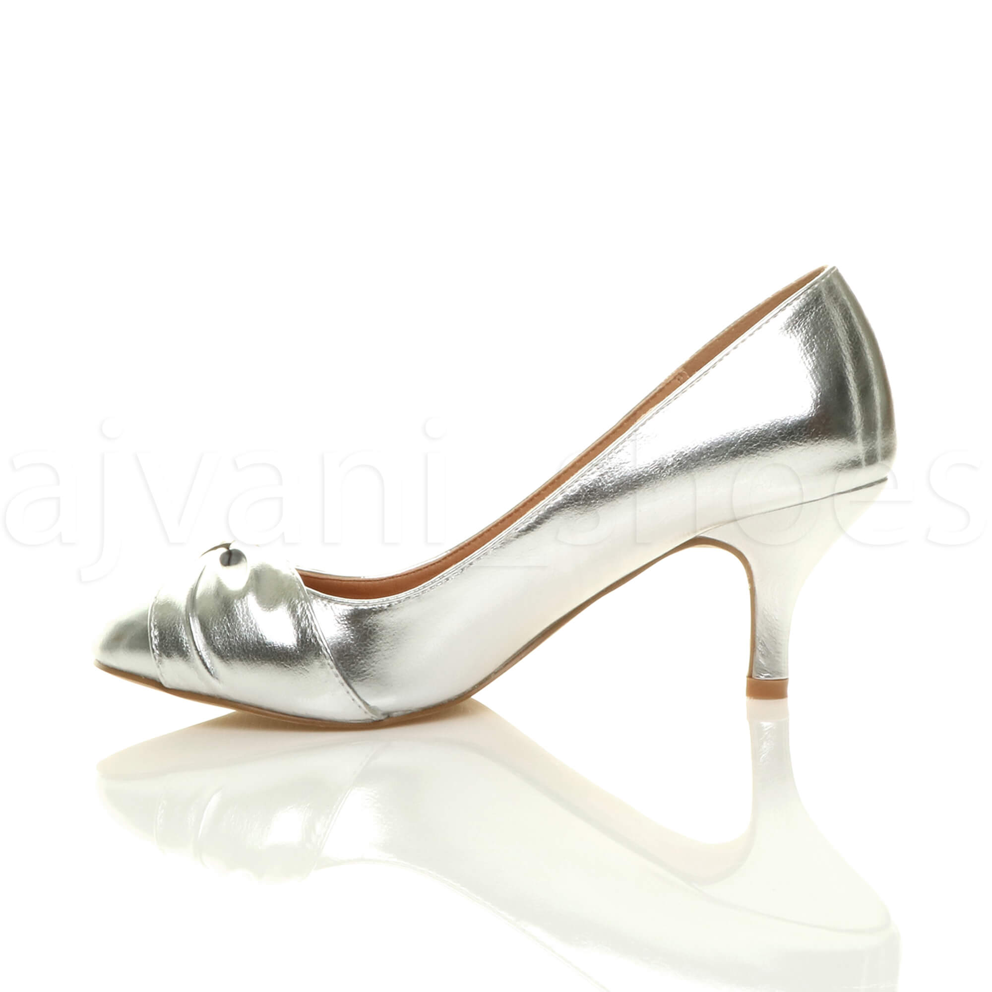 WOMENS-LADIES-MID-HEEL-RUCHED-DIAMANTE-WEDDING-PROM-EVENING-COURT-SHOES-SIZE thumbnail 84