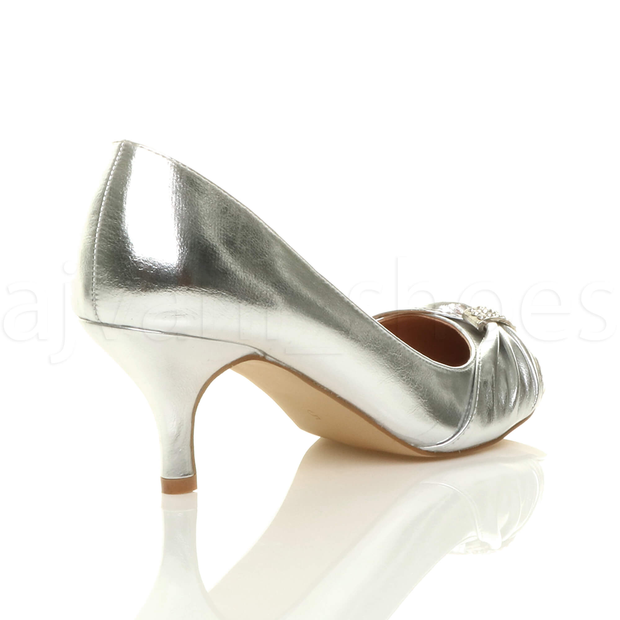 WOMENS-LADIES-MID-HEEL-RUCHED-DIAMANTE-WEDDING-PROM-EVENING-COURT-SHOES-SIZE thumbnail 85