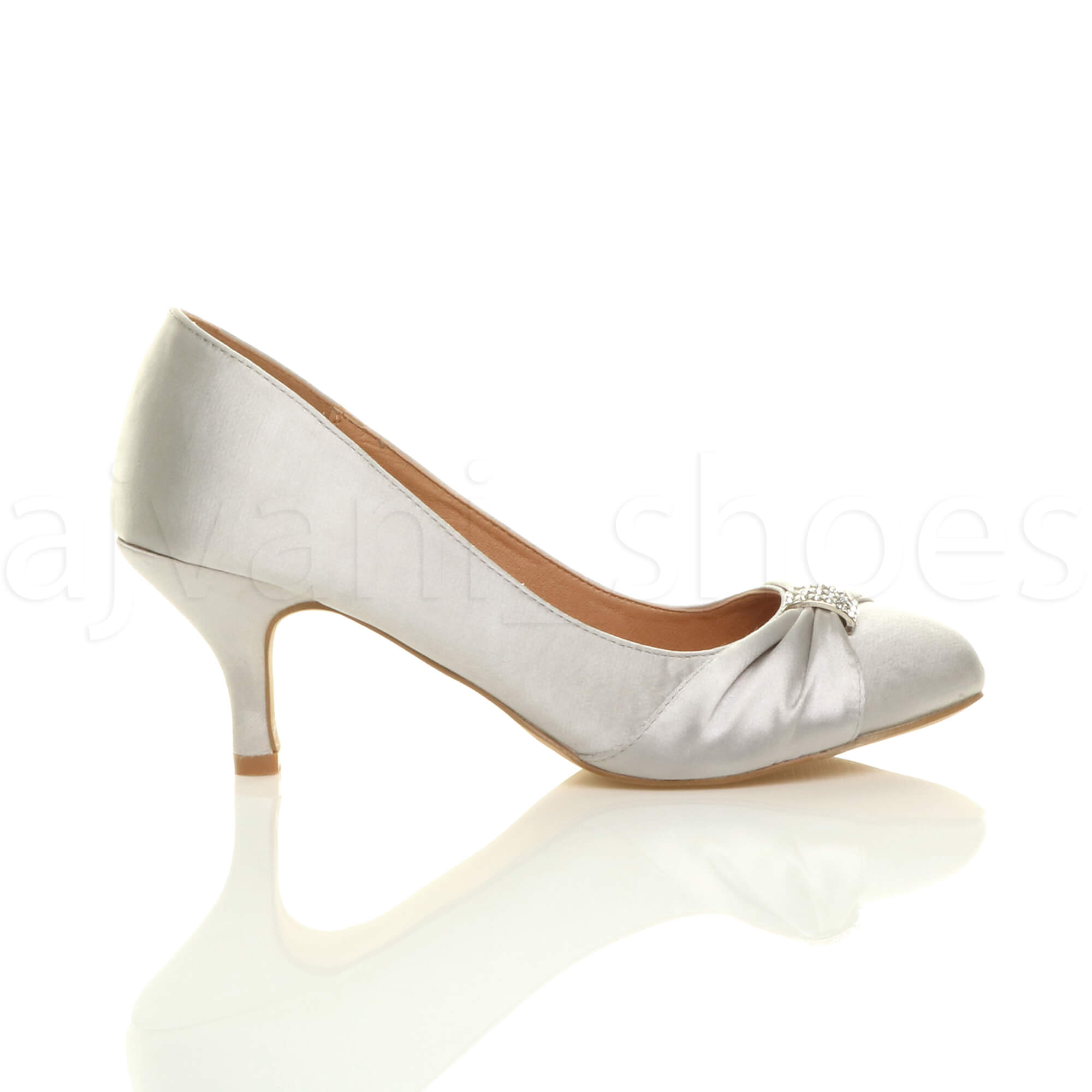 WOMENS-LADIES-MID-HEEL-RUCHED-DIAMANTE-WEDDING-PROM-EVENING-COURT-SHOES-SIZE thumbnail 91