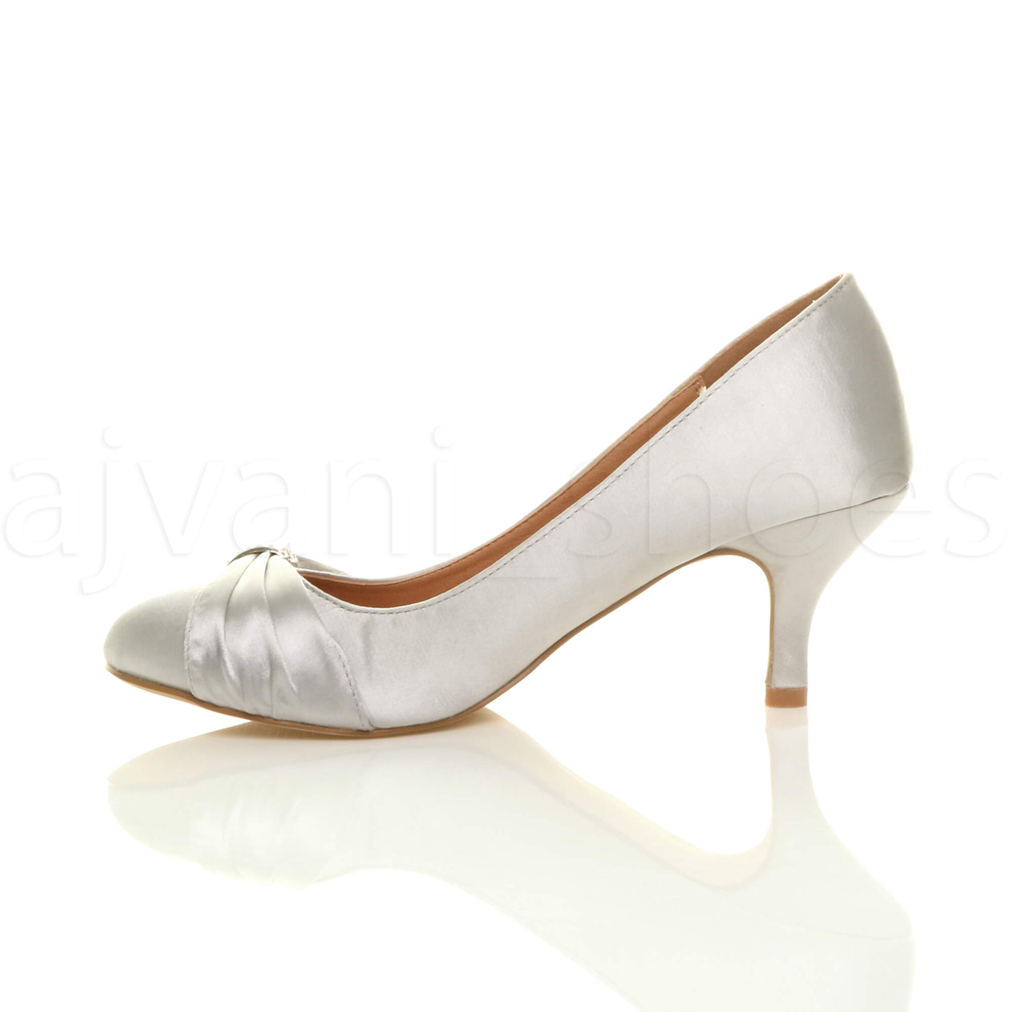 WOMENS-LADIES-MID-HEEL-RUCHED-DIAMANTE-WEDDING-PROM-EVENING-COURT-SHOES-SIZE thumbnail 92
