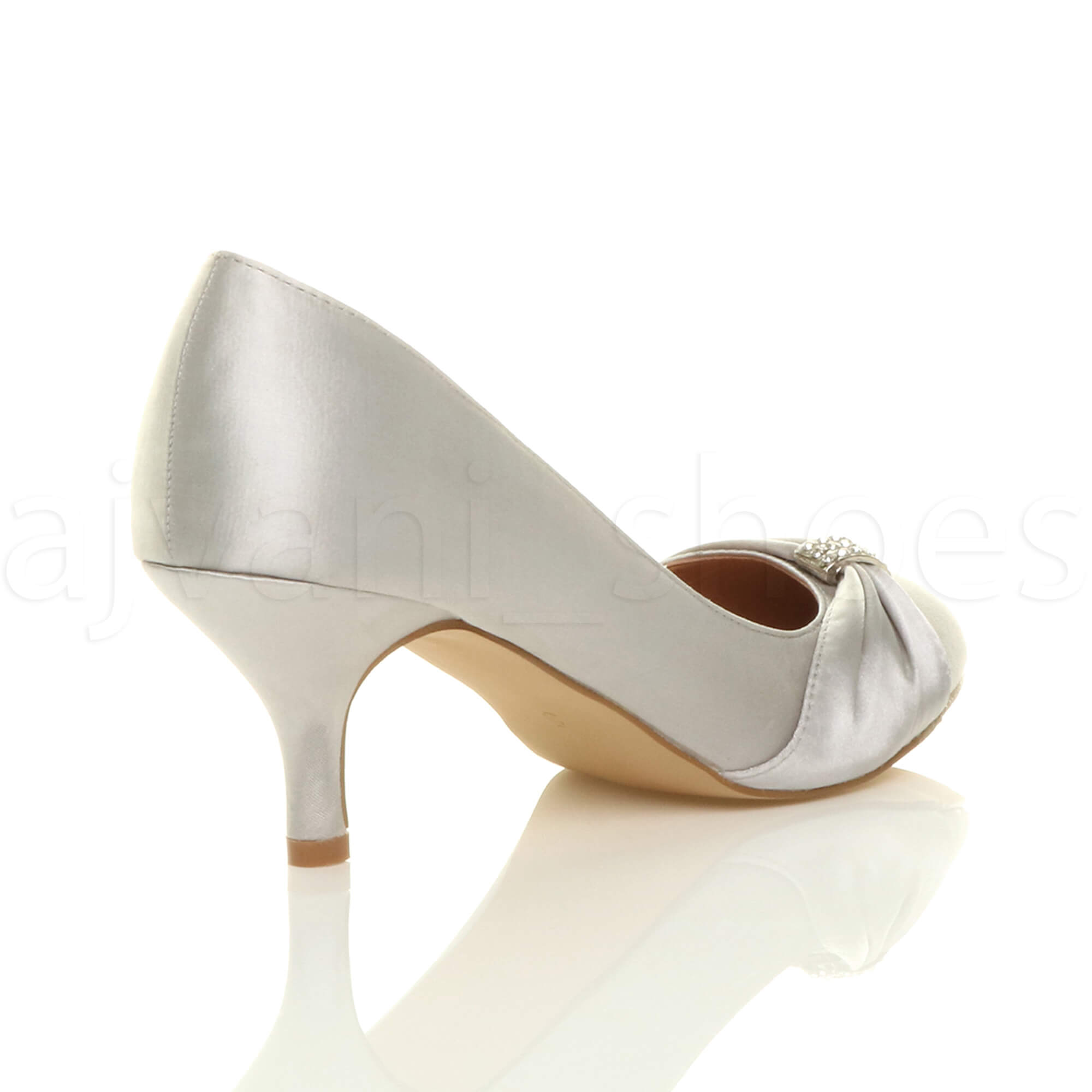 WOMENS-LADIES-MID-HEEL-RUCHED-DIAMANTE-WEDDING-PROM-EVENING-COURT-SHOES-SIZE thumbnail 93