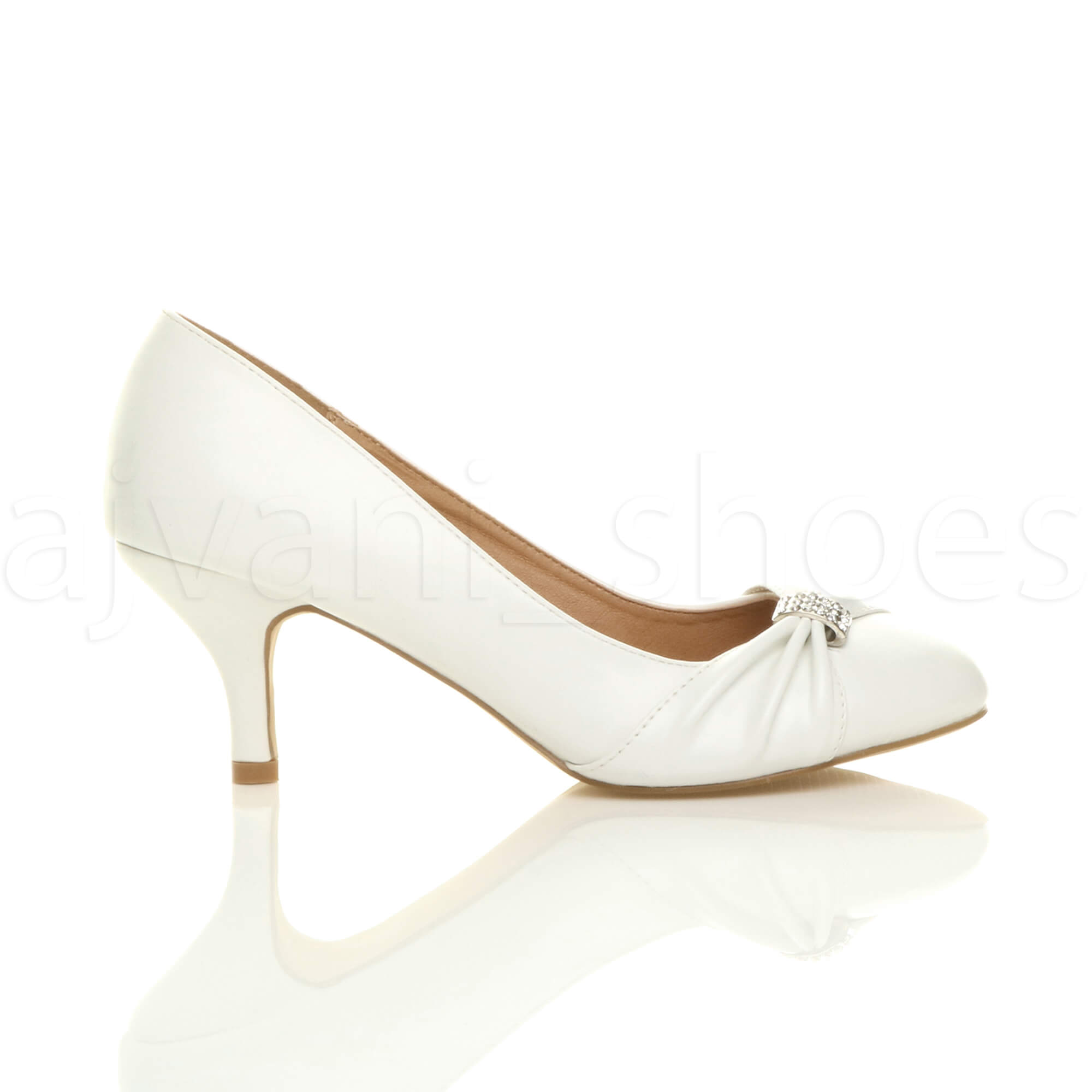 WOMENS-LADIES-MID-HEEL-RUCHED-DIAMANTE-WEDDING-PROM-EVENING-COURT-SHOES-SIZE thumbnail 99