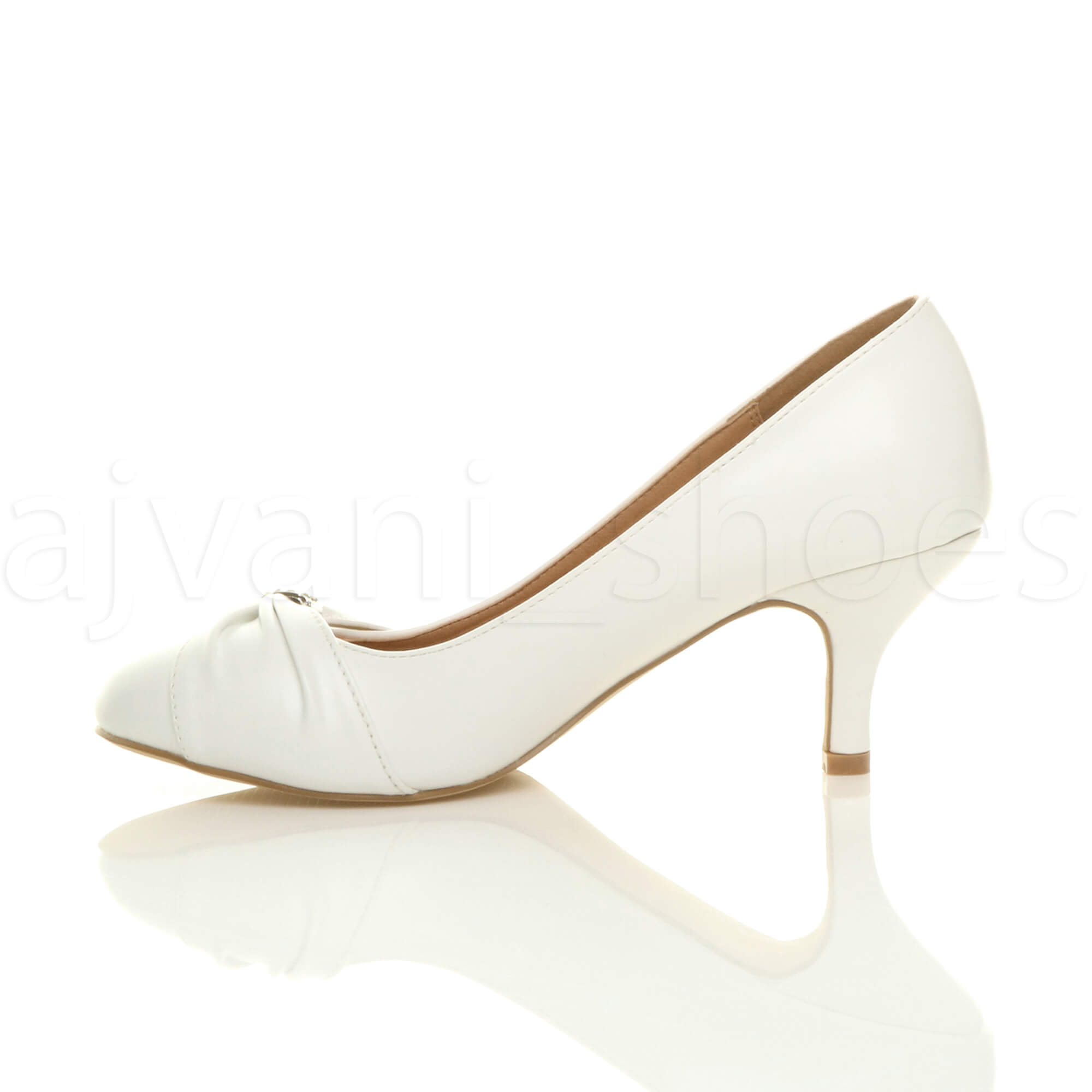 WOMENS-LADIES-MID-HEEL-RUCHED-DIAMANTE-WEDDING-PROM-EVENING-COURT-SHOES-SIZE thumbnail 100