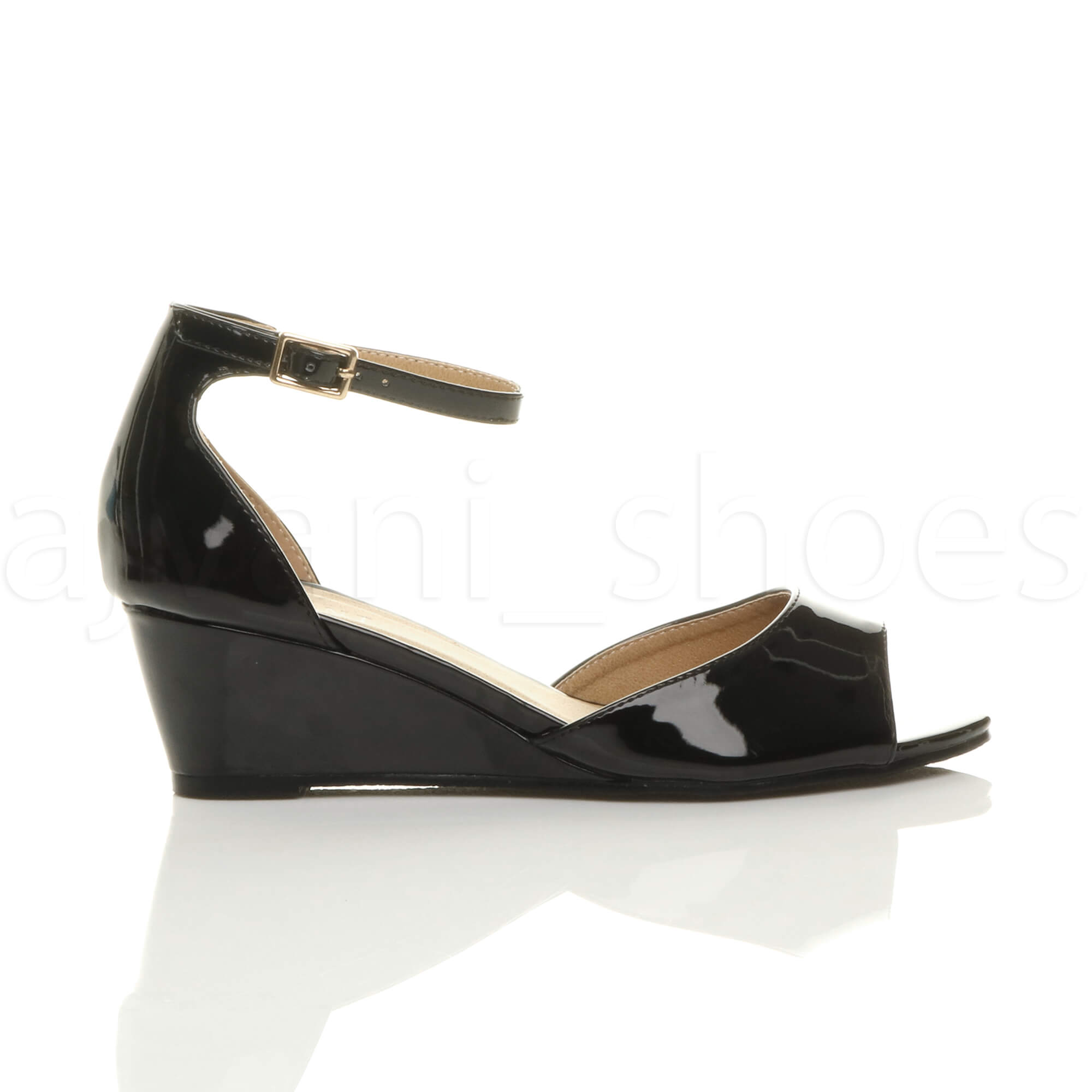 WOMENS-LADIES-LOW-MID-WEDGE-HEEL-ANKLE-STRAP-SMART-CASUAL-EVENING-SANDALS-SIZE thumbnail 11
