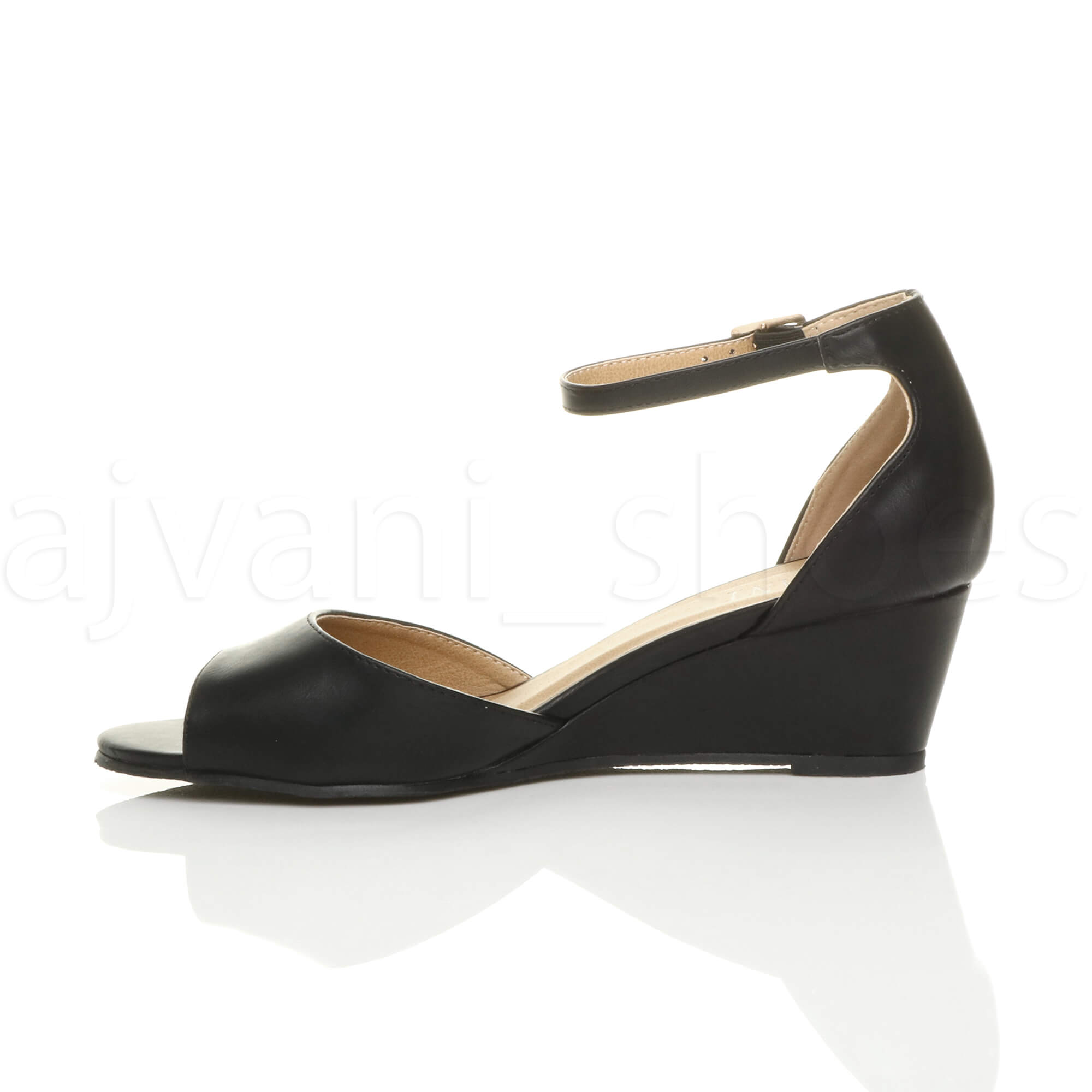 WOMENS-LADIES-LOW-MID-WEDGE-HEEL-ANKLE-STRAP-SMART-CASUAL-EVENING-SANDALS-SIZE thumbnail 4