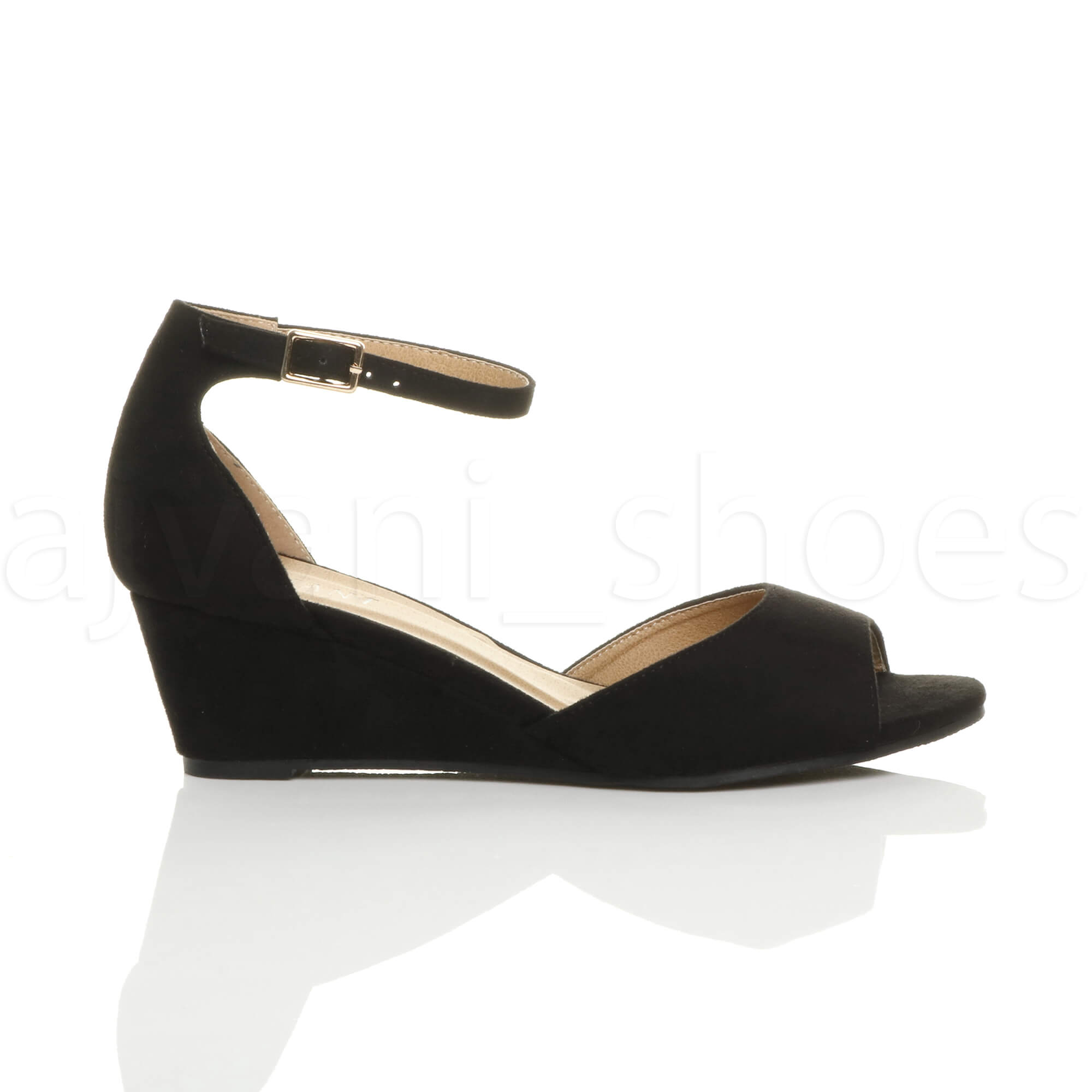 WOMENS-LADIES-LOW-MID-WEDGE-HEEL-ANKLE-STRAP-SMART-CASUAL-EVENING-SANDALS-SIZE thumbnail 19
